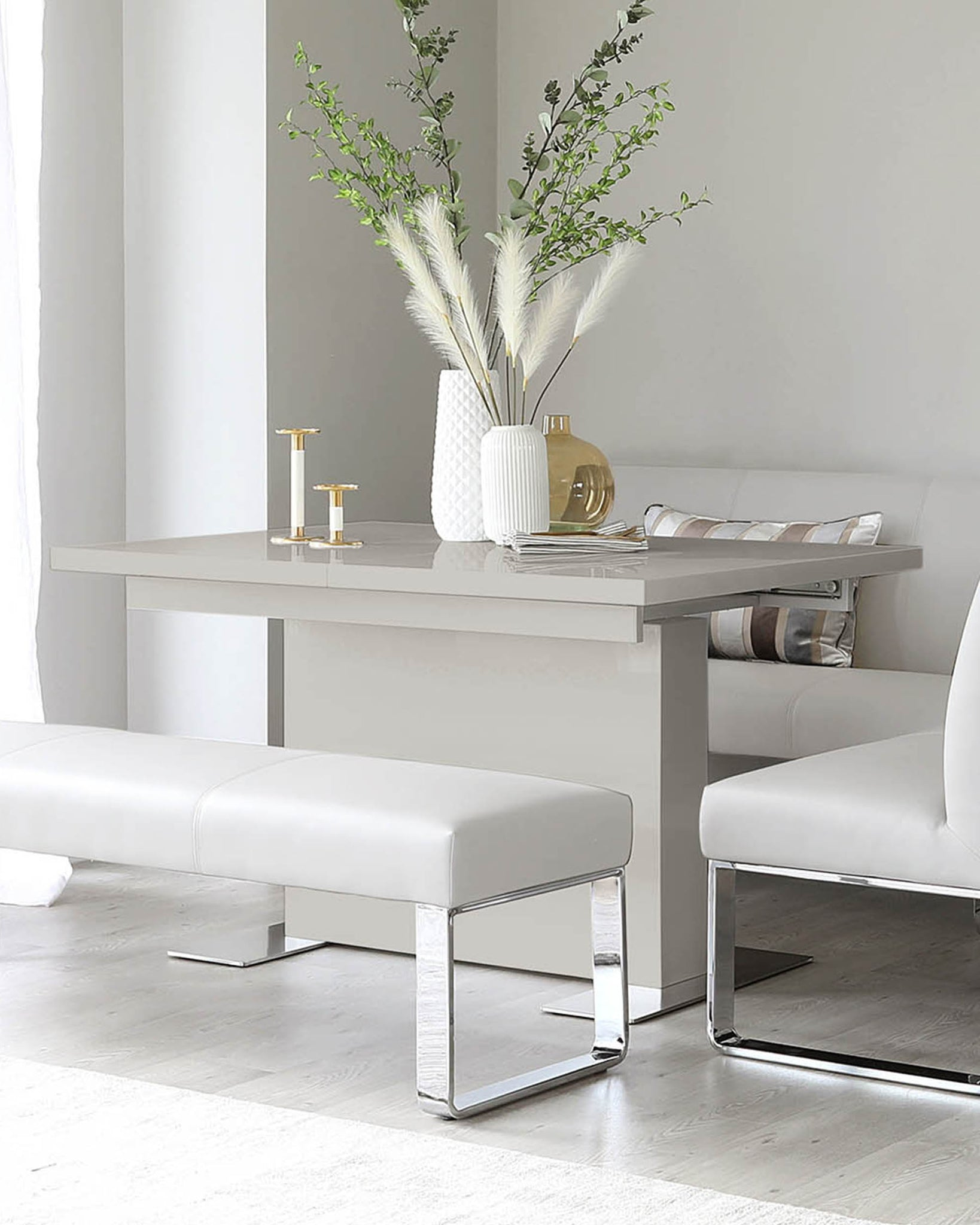 Sanza Grey Gloss Small Extending Dining Table