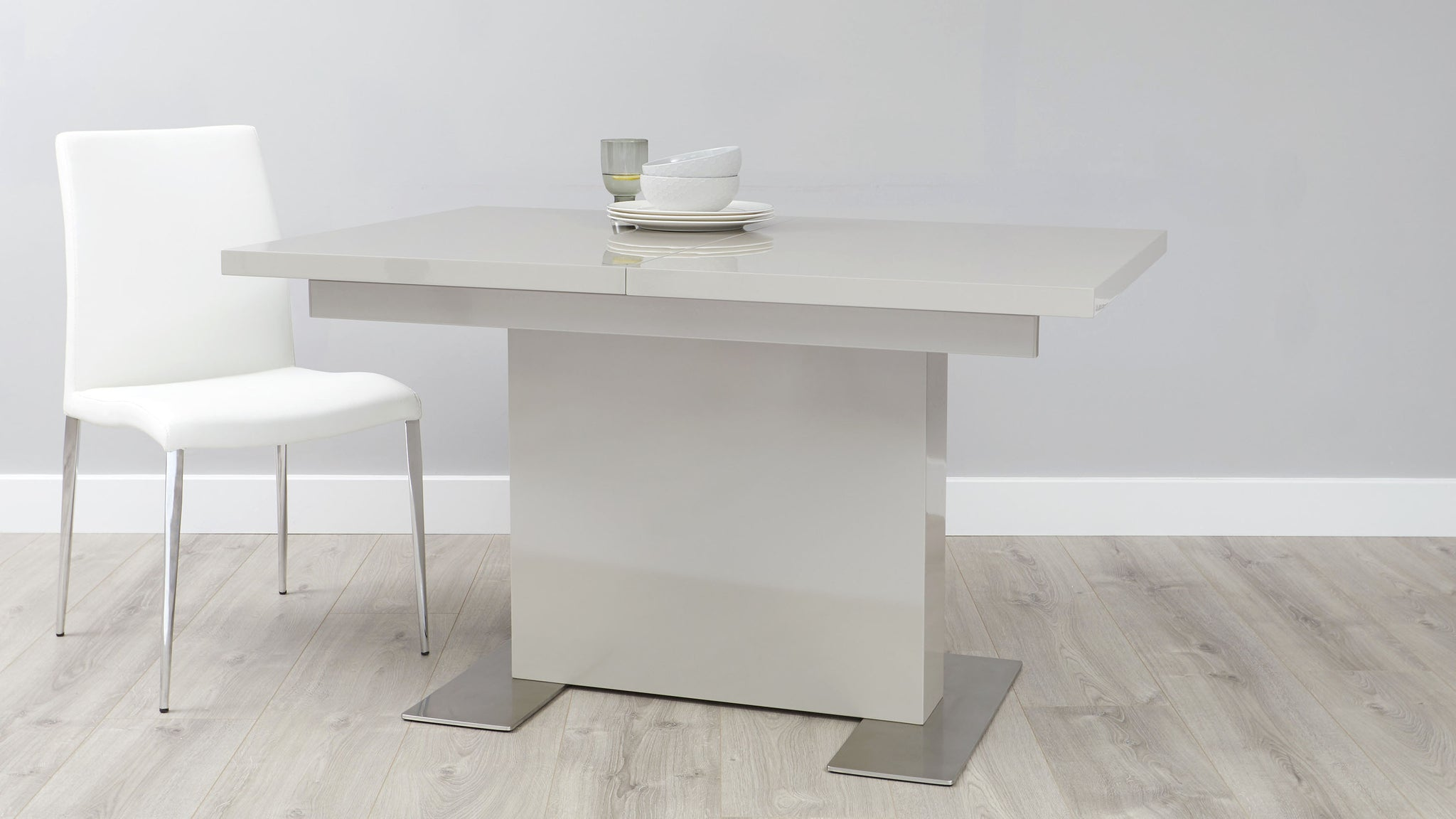 Sanza Grey Gloss And Loop 5 Seater Left Hand Corner Bench Dining Set