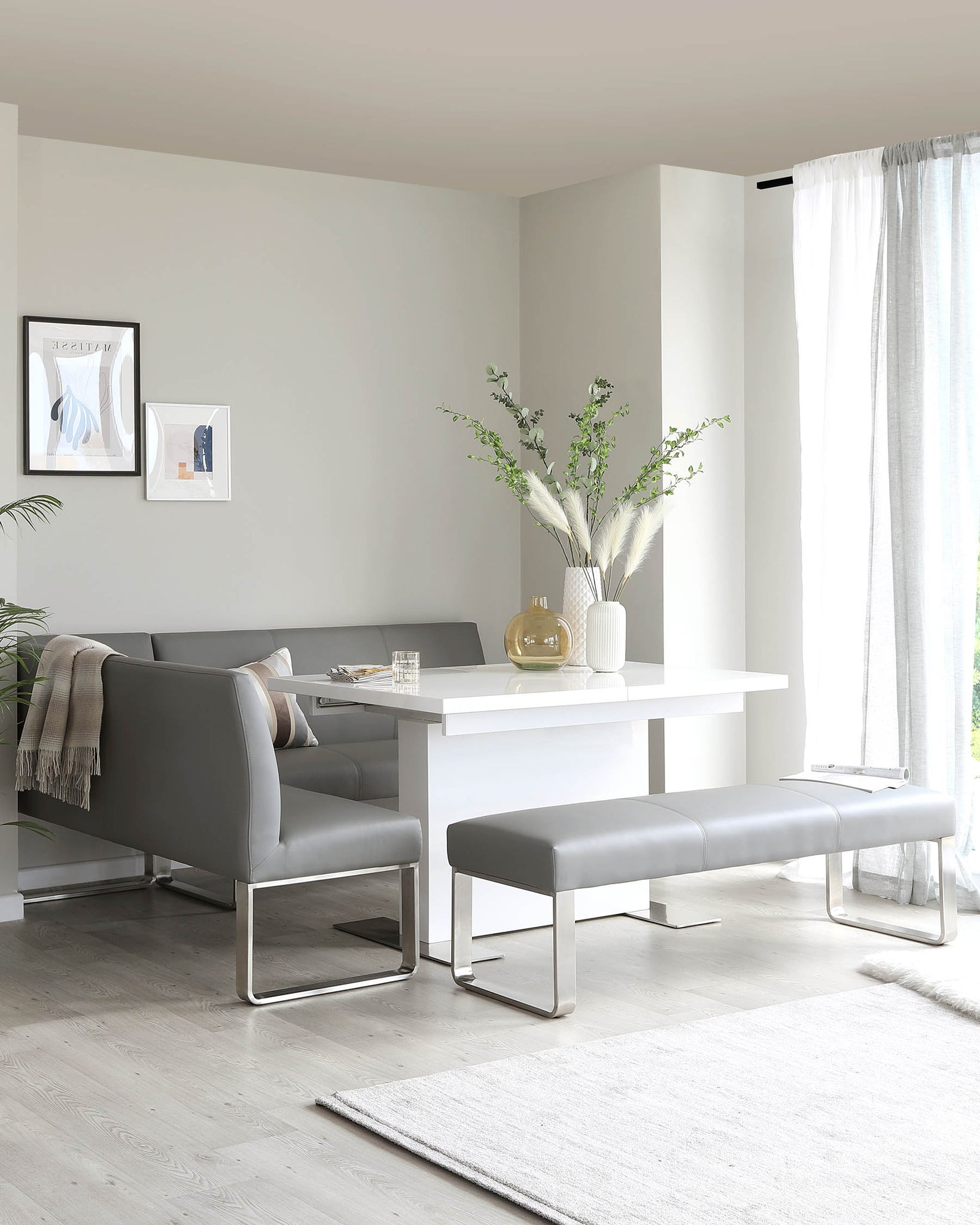 Loop 5 Seater Grey Faux Leather & Stainless Steel Right Hand Corner Bench