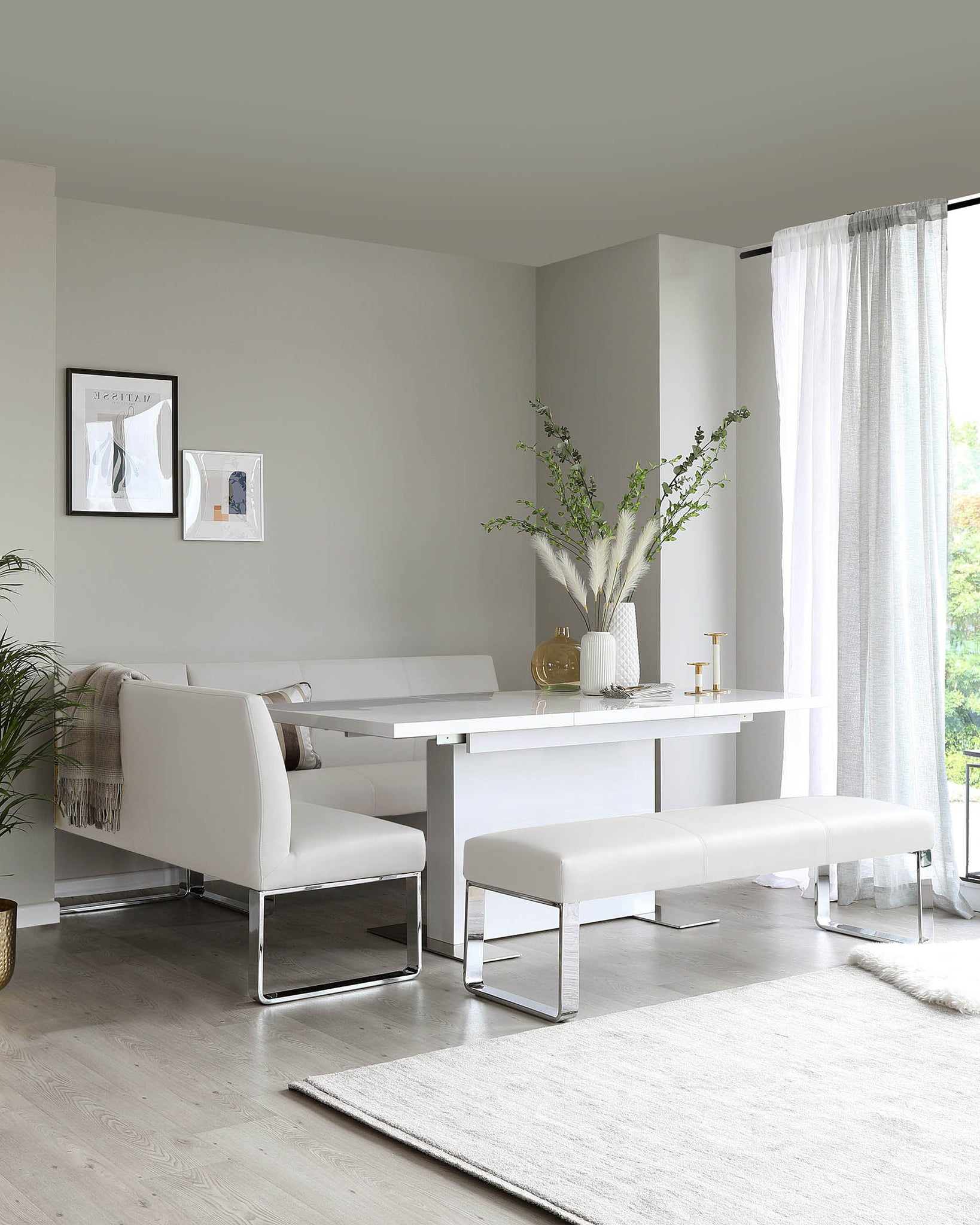 Loop 5 Seater Light Grey Faux Leather & Chrome Right Hand Corner Bench