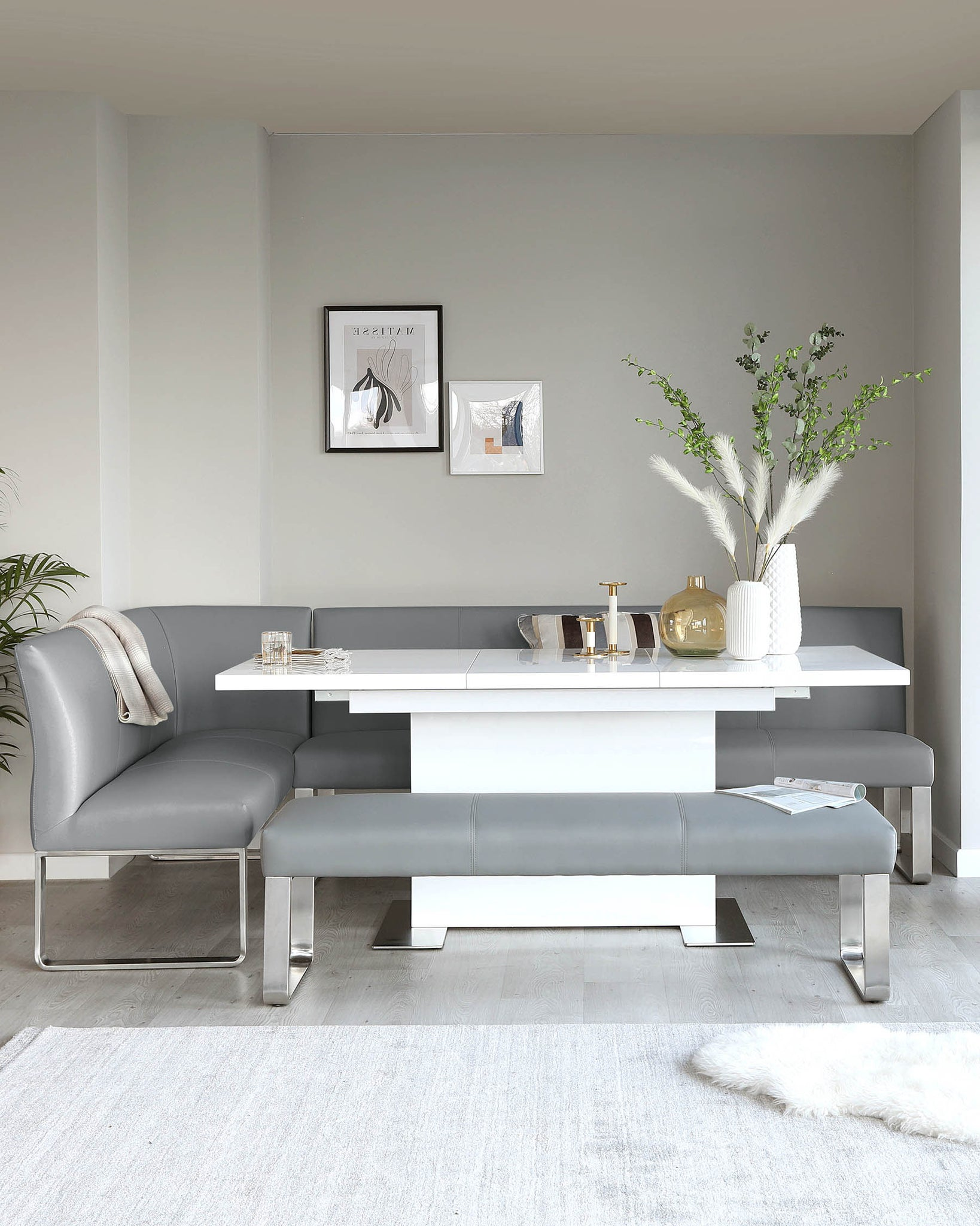 Loop 7 Seater Grey Faux Leather & Stainless Steel Right Hand Corner Bench