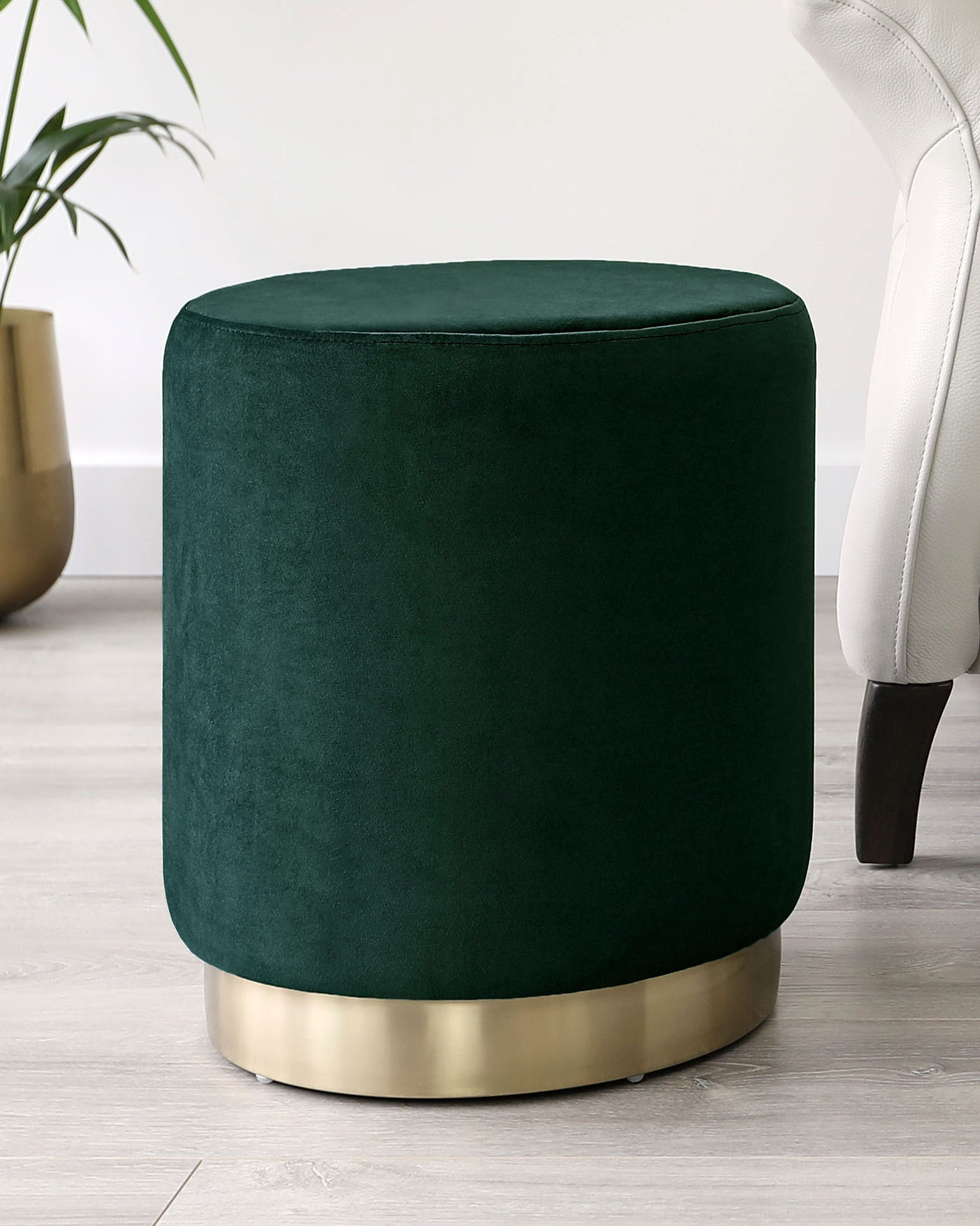 Plaza Dark Green Velvet And Brass Footstool