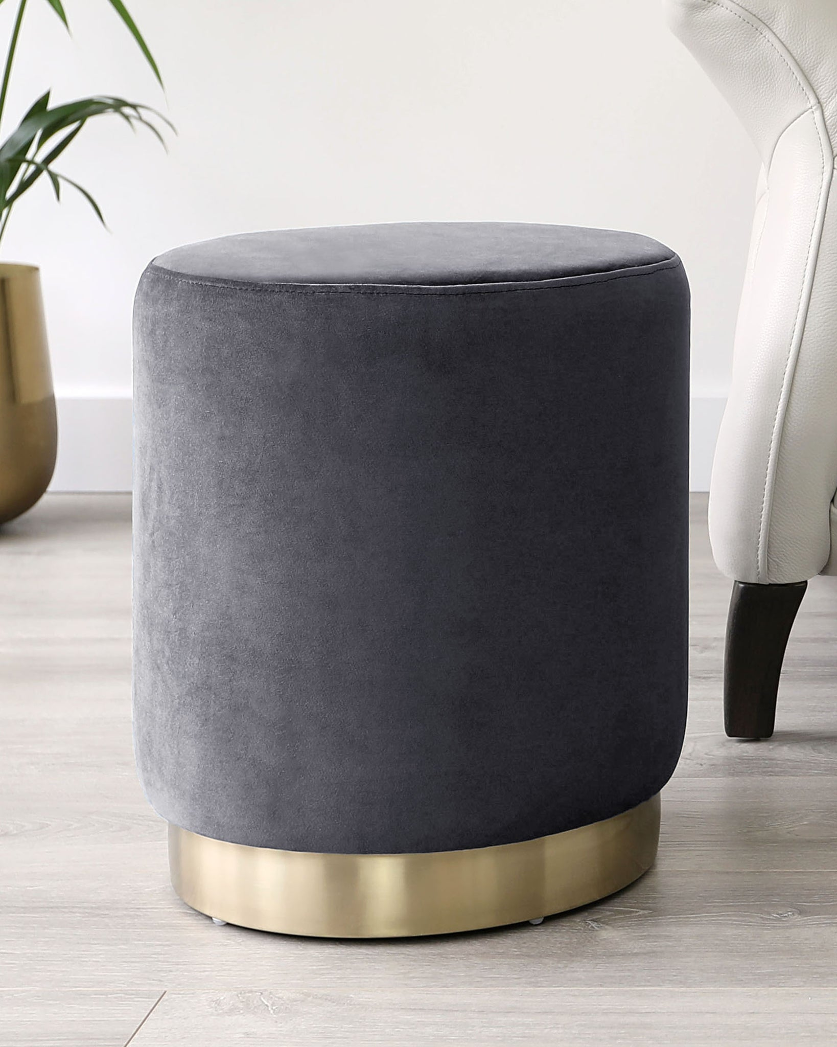 Plaza Dark Grey Velvet And Brass Footstool