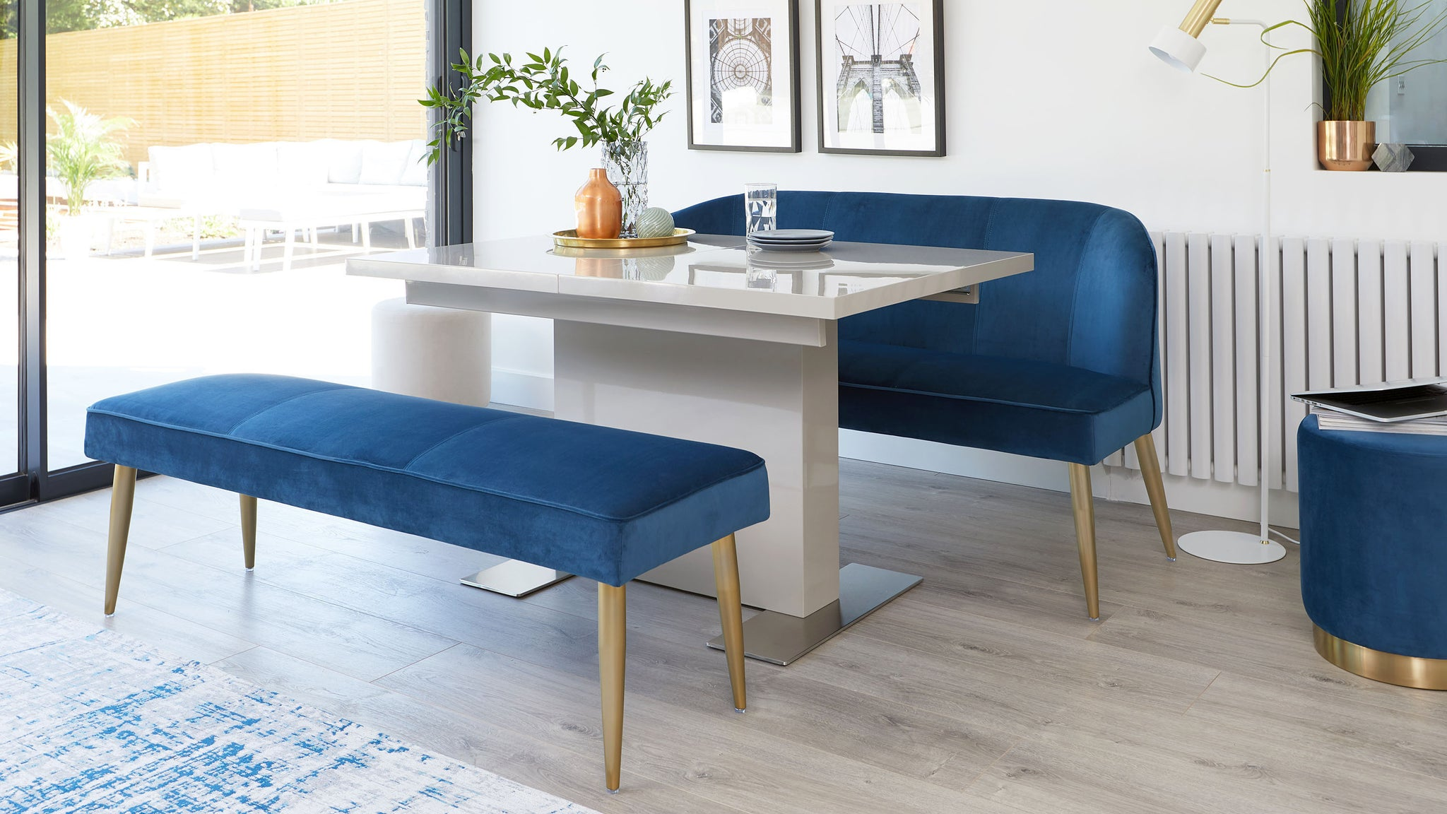 Sanza Grey Gloss And Mellow Velvet And Brass Dining Set