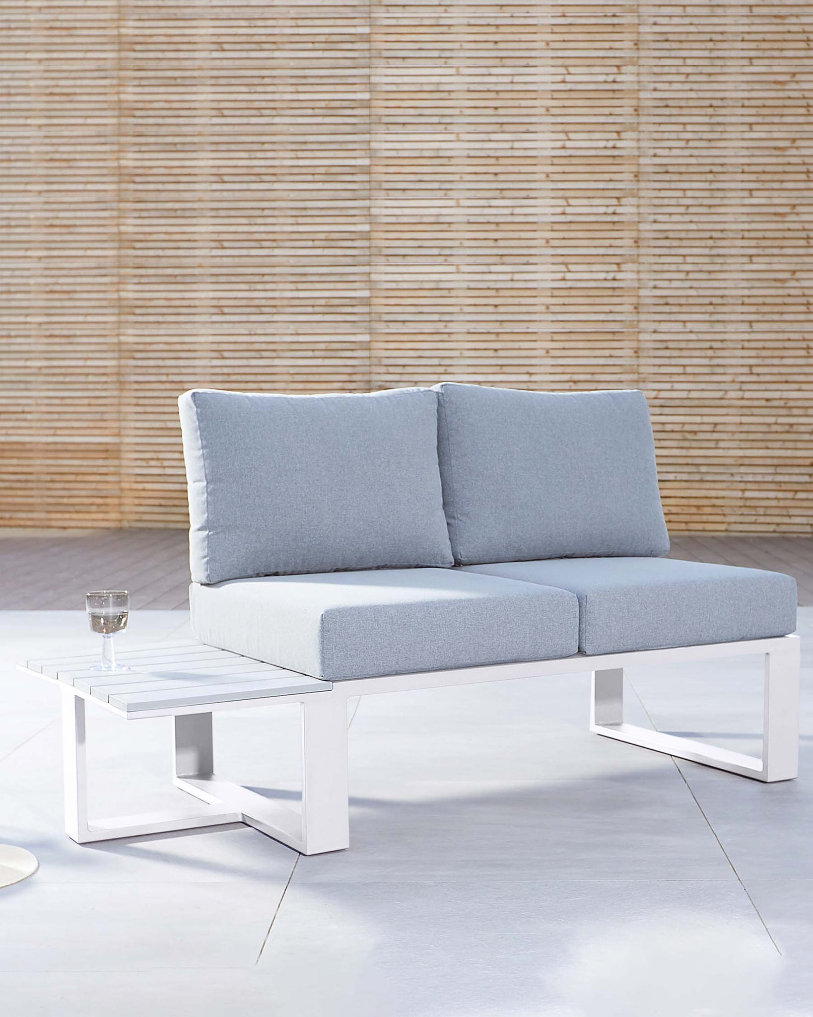 Savannah White Garden 2 Seater Modular Sofa with Side Table