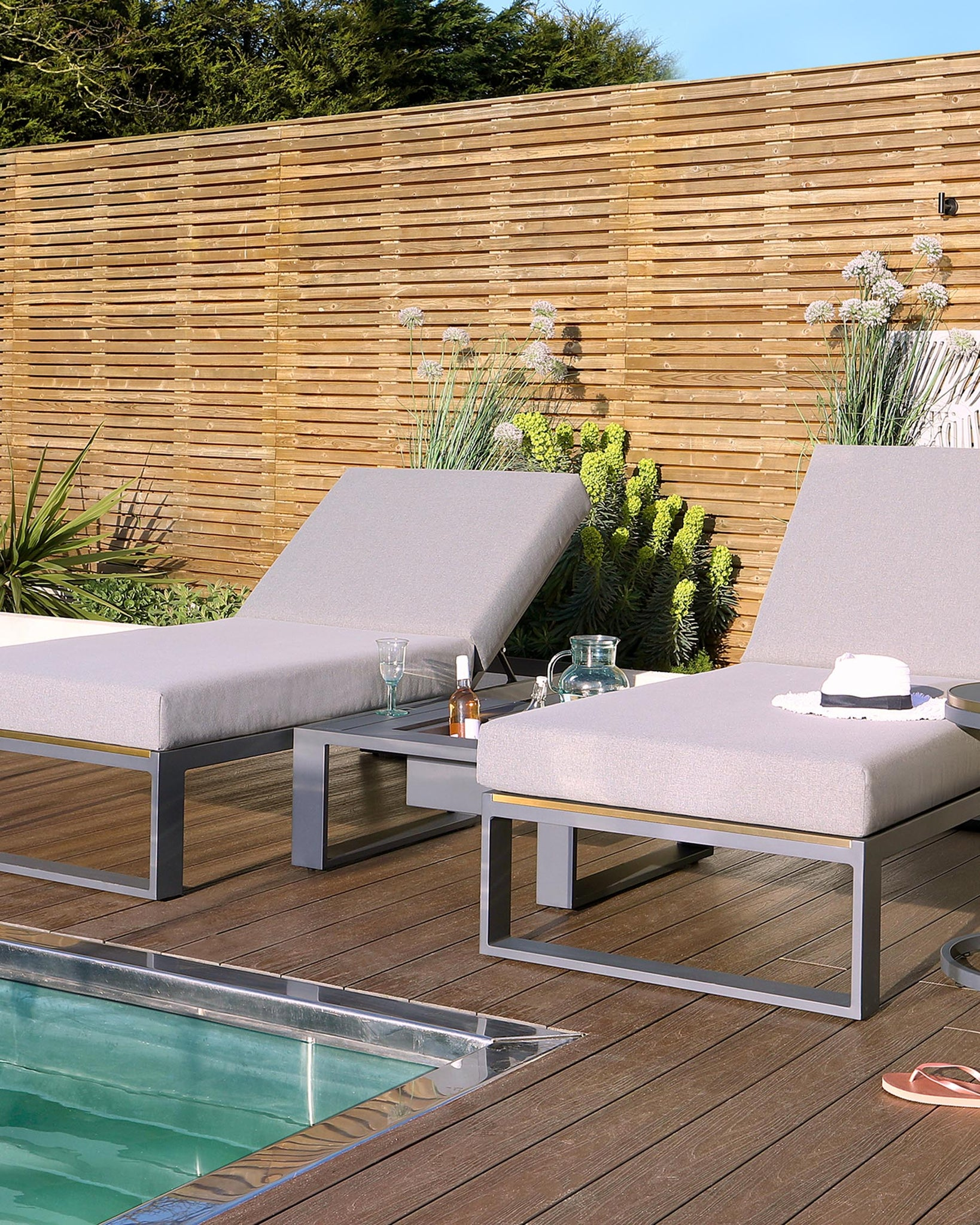 Savannah Grey Garden Sun Lounger And Coffee Table Set