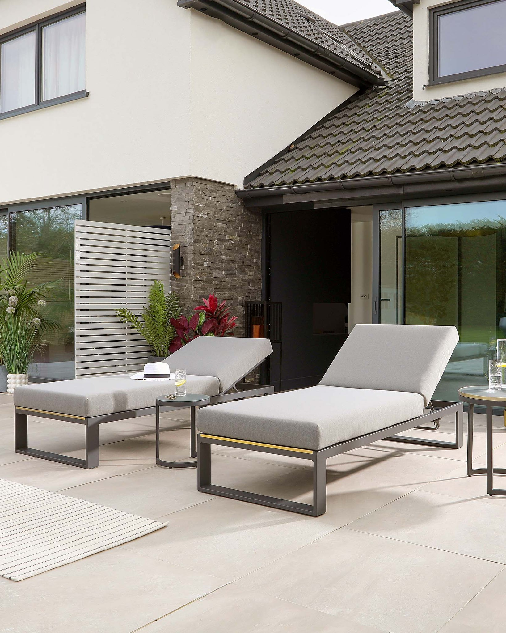 Savannah Grey Garden Sun Lounger And Cala Side Table Set