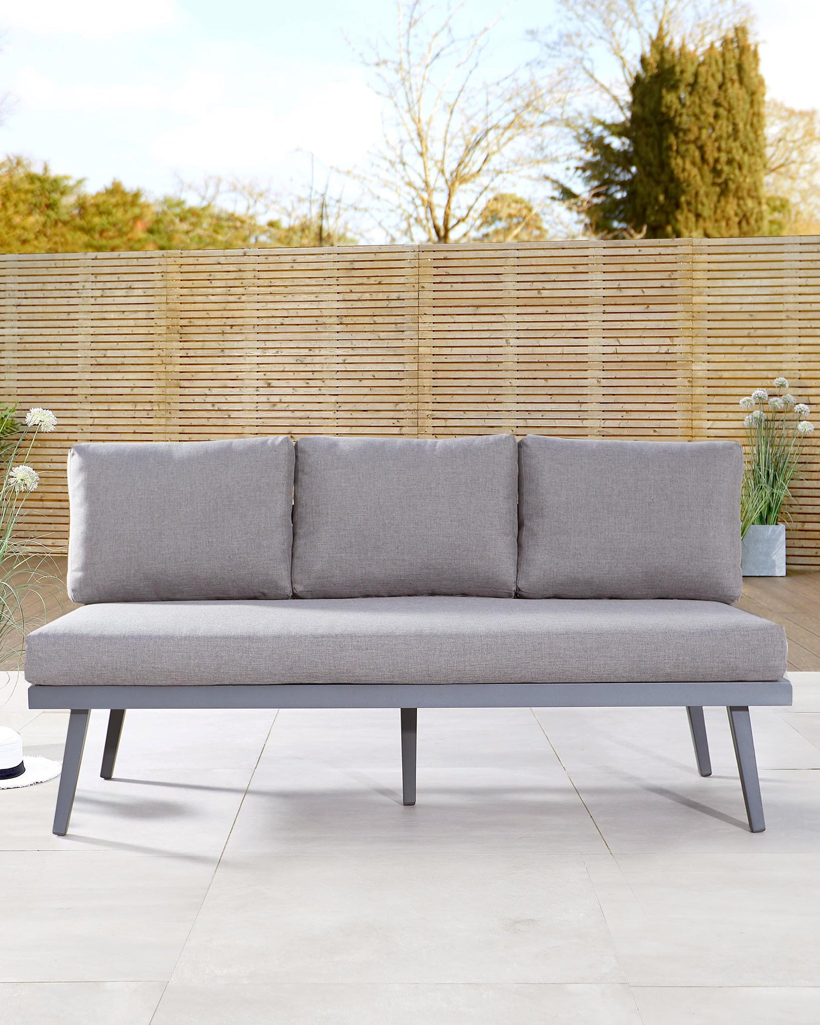 Palermo Grey 3 Seater Outdoor Bench with Backrest