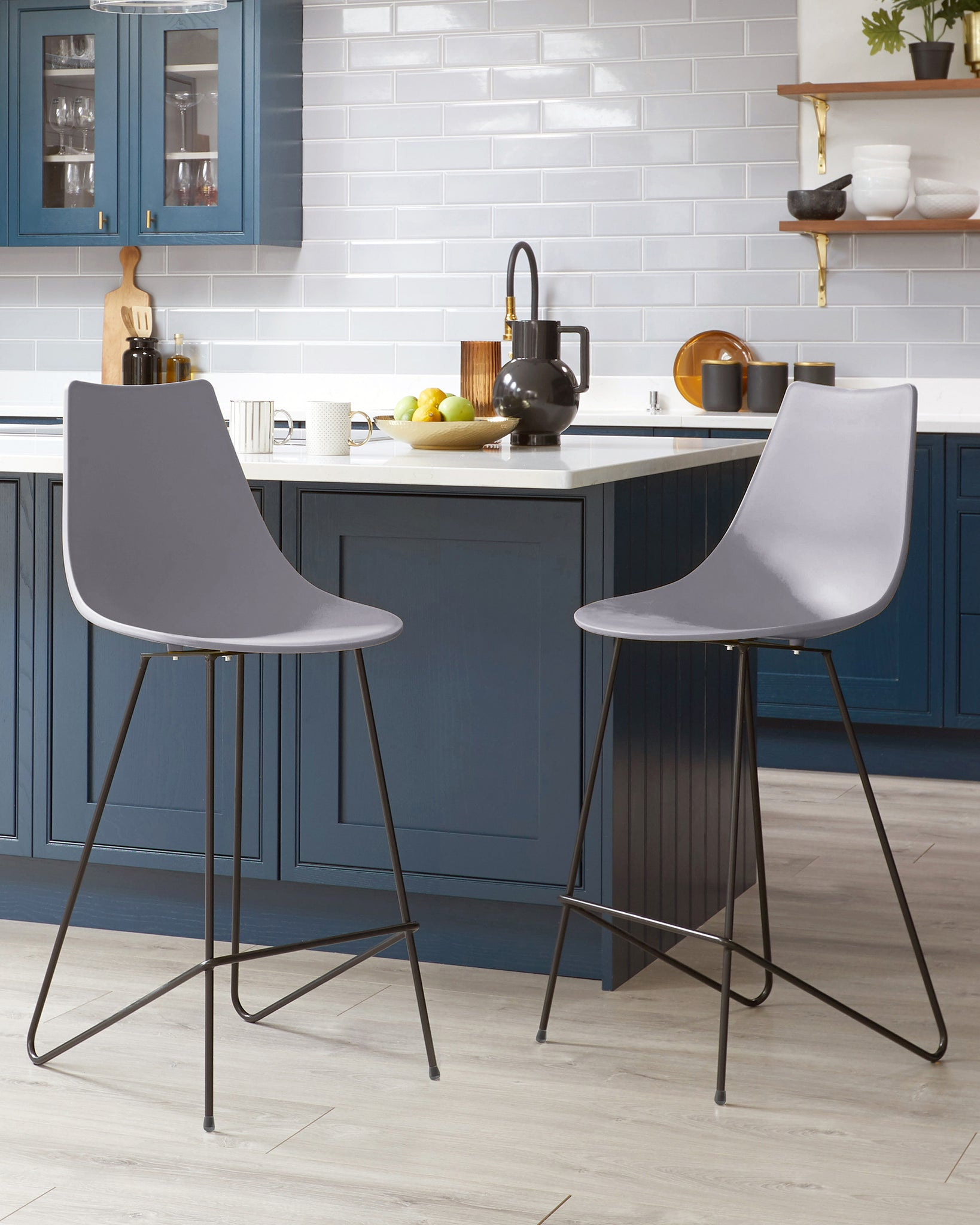 Sawyer Light Grey Bar Stool - Set Of 2