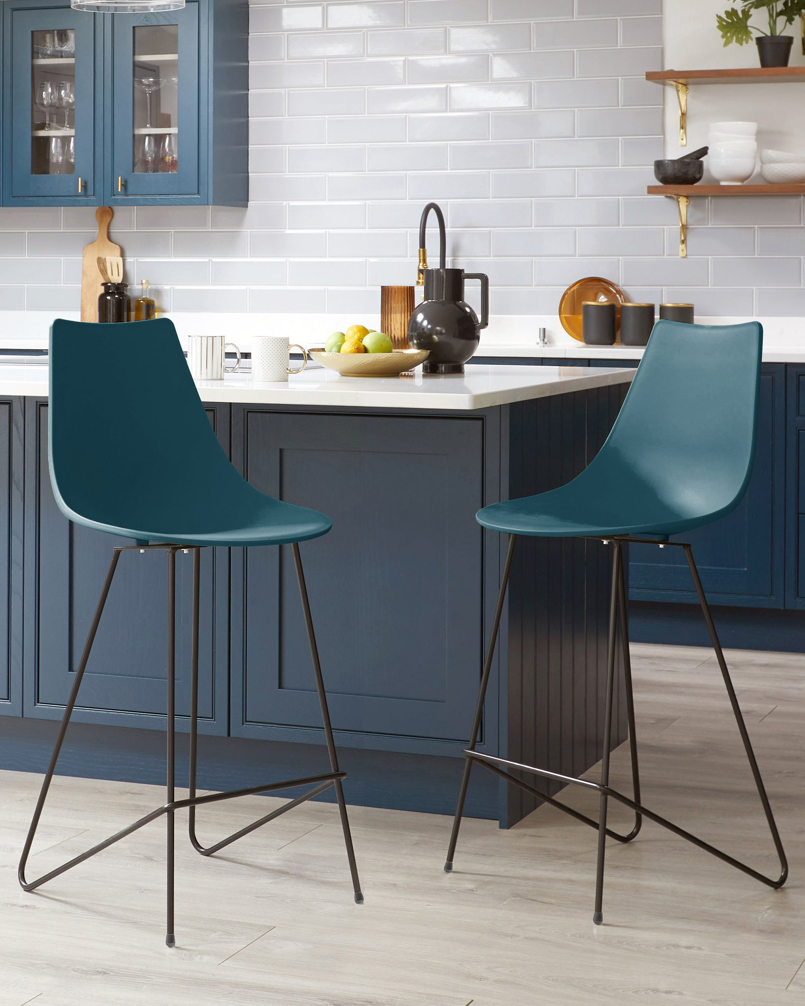 Sawyer Teal Bar Stool - Set Of 2