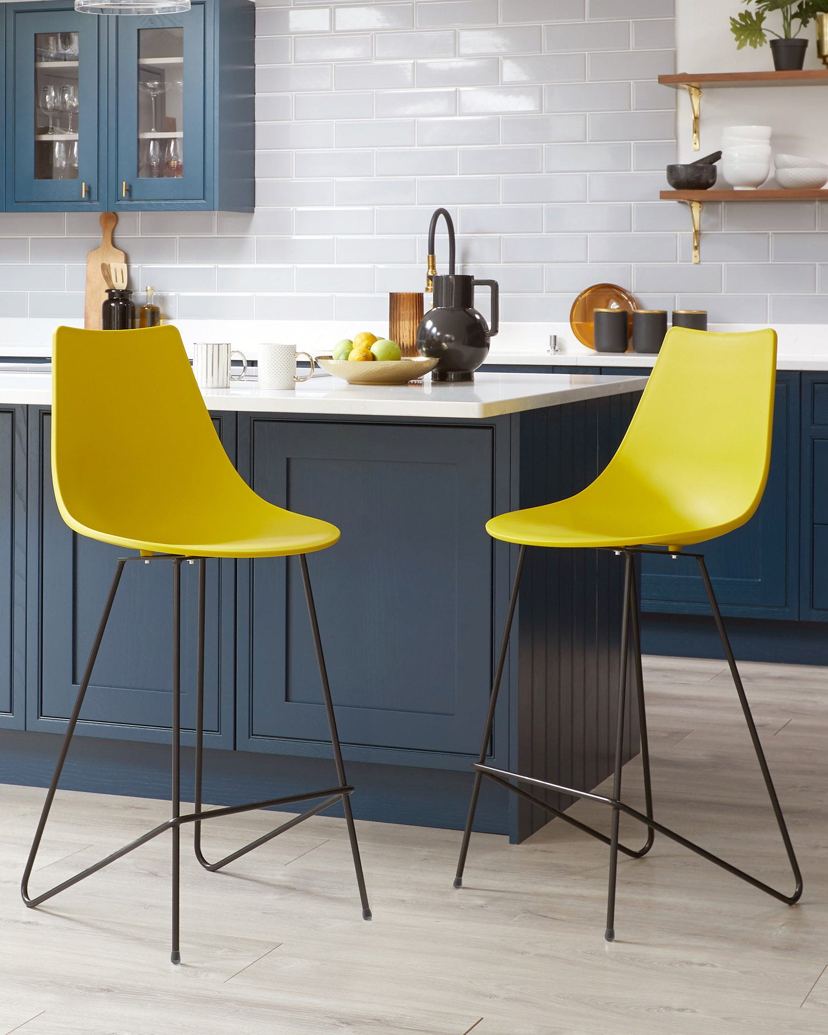 Sawyer Mustard Yellow Bar Stool - Set Of 2
