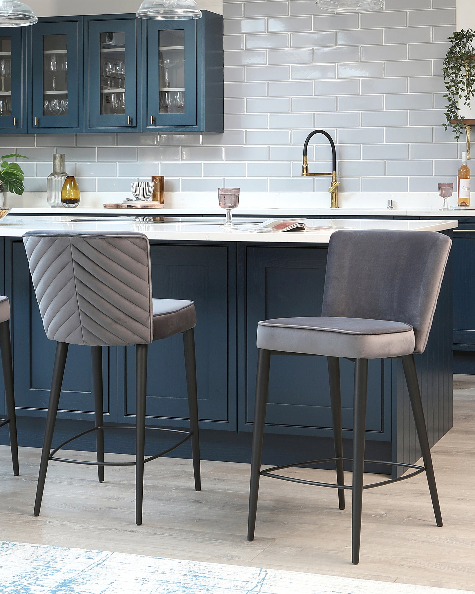 Serena Dark Grey Velvet Bar Stool