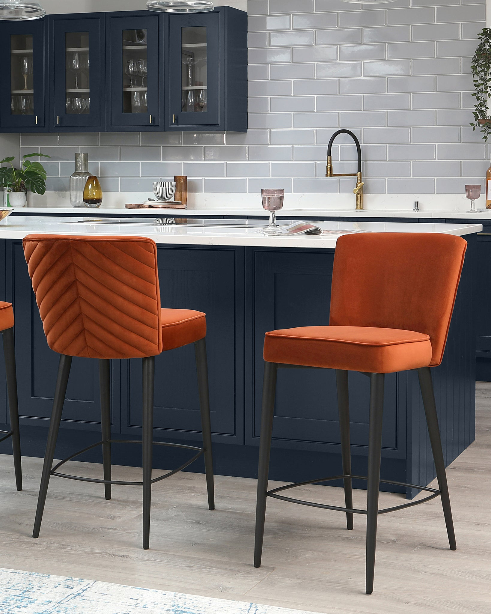 Serena Rust Velvet Bar Stool