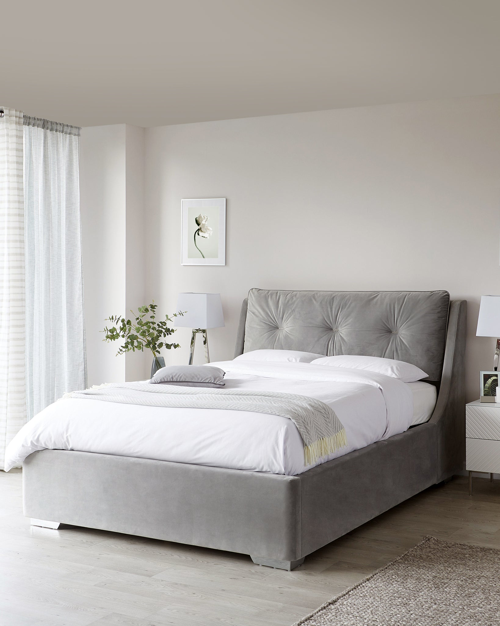 Siesta Grey Velvet King Size Bed With Storage
