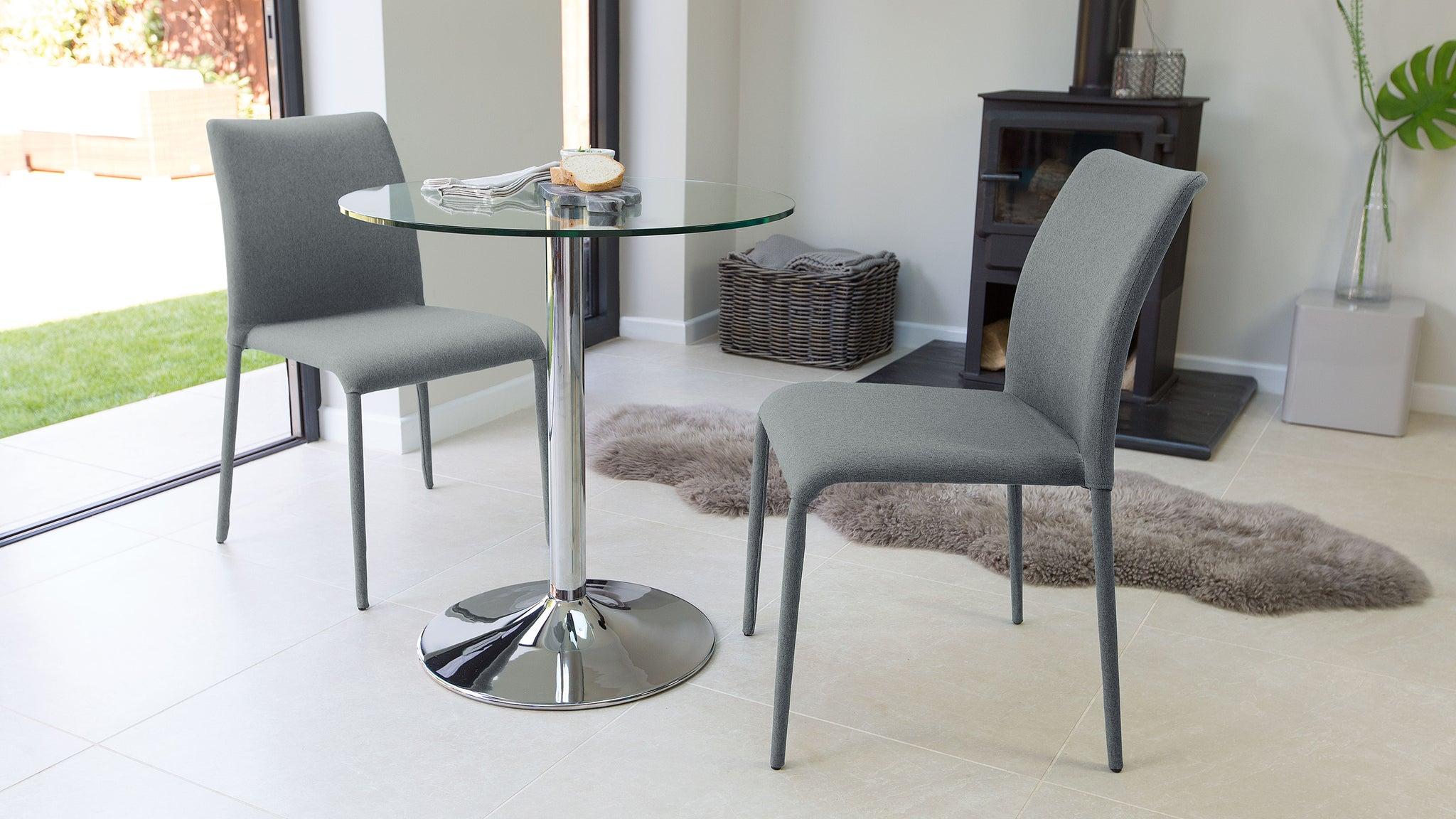 Naro Glass And Riva Stackable 2 Seater Dining Set