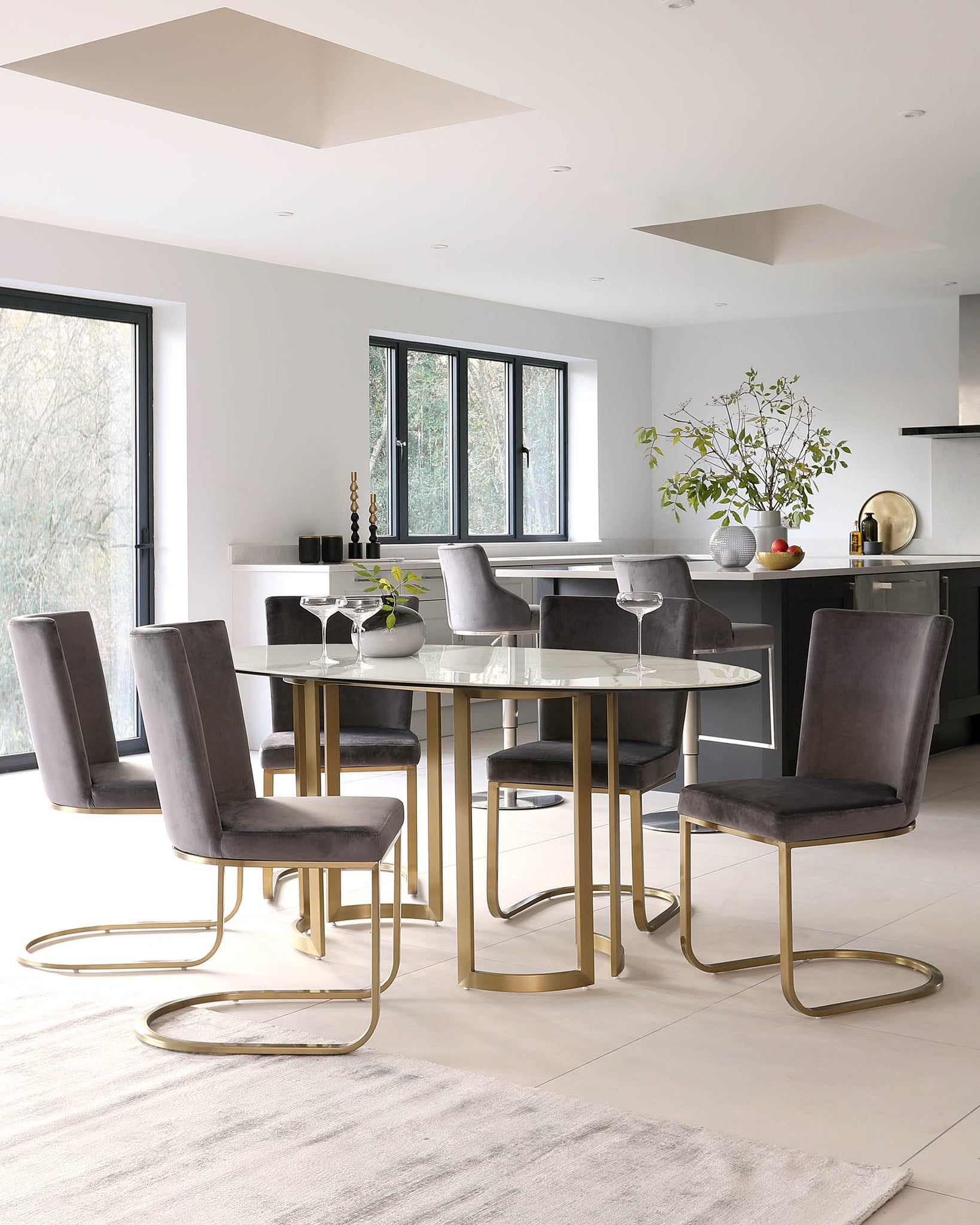 Skylar Ceramic Marble And Brass Dining Table