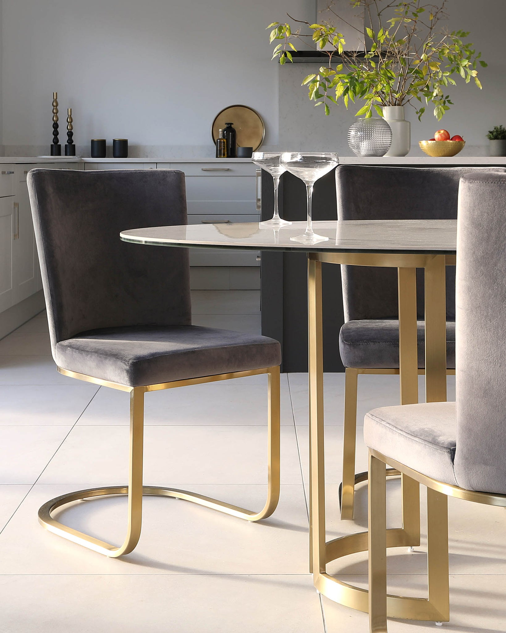 Skylar Brass and Form Velvet and Brass Dining Chair Set