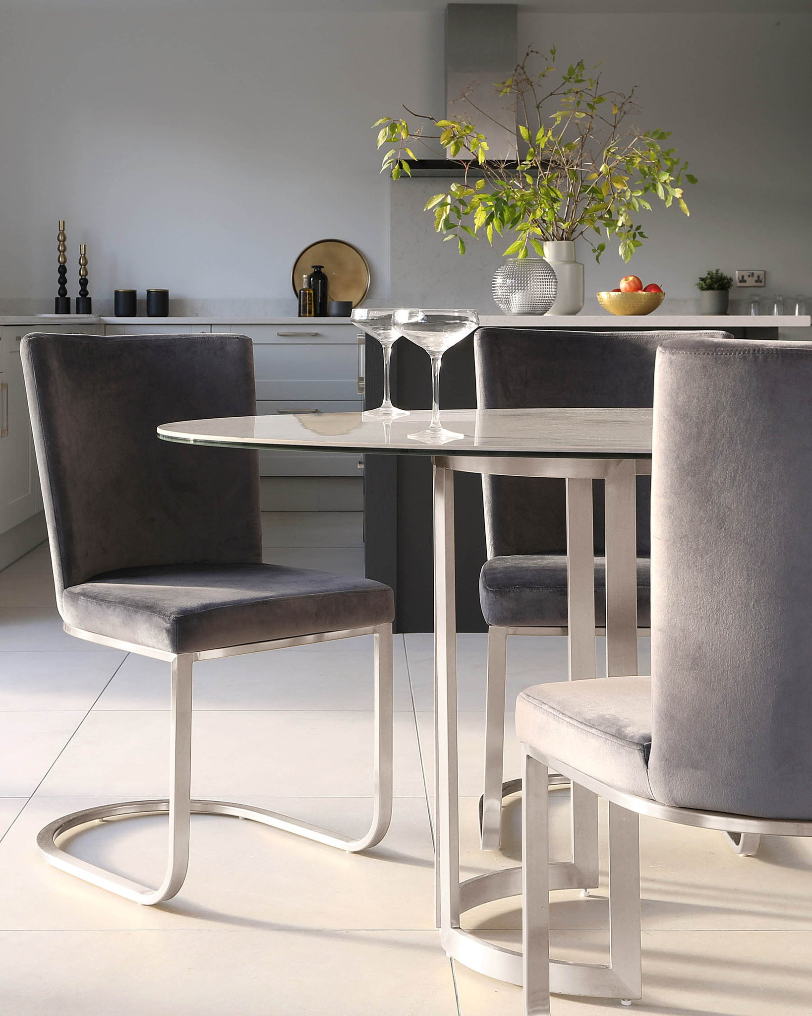 Skylar Ceramic Marble And Stainless Steel Dining Table