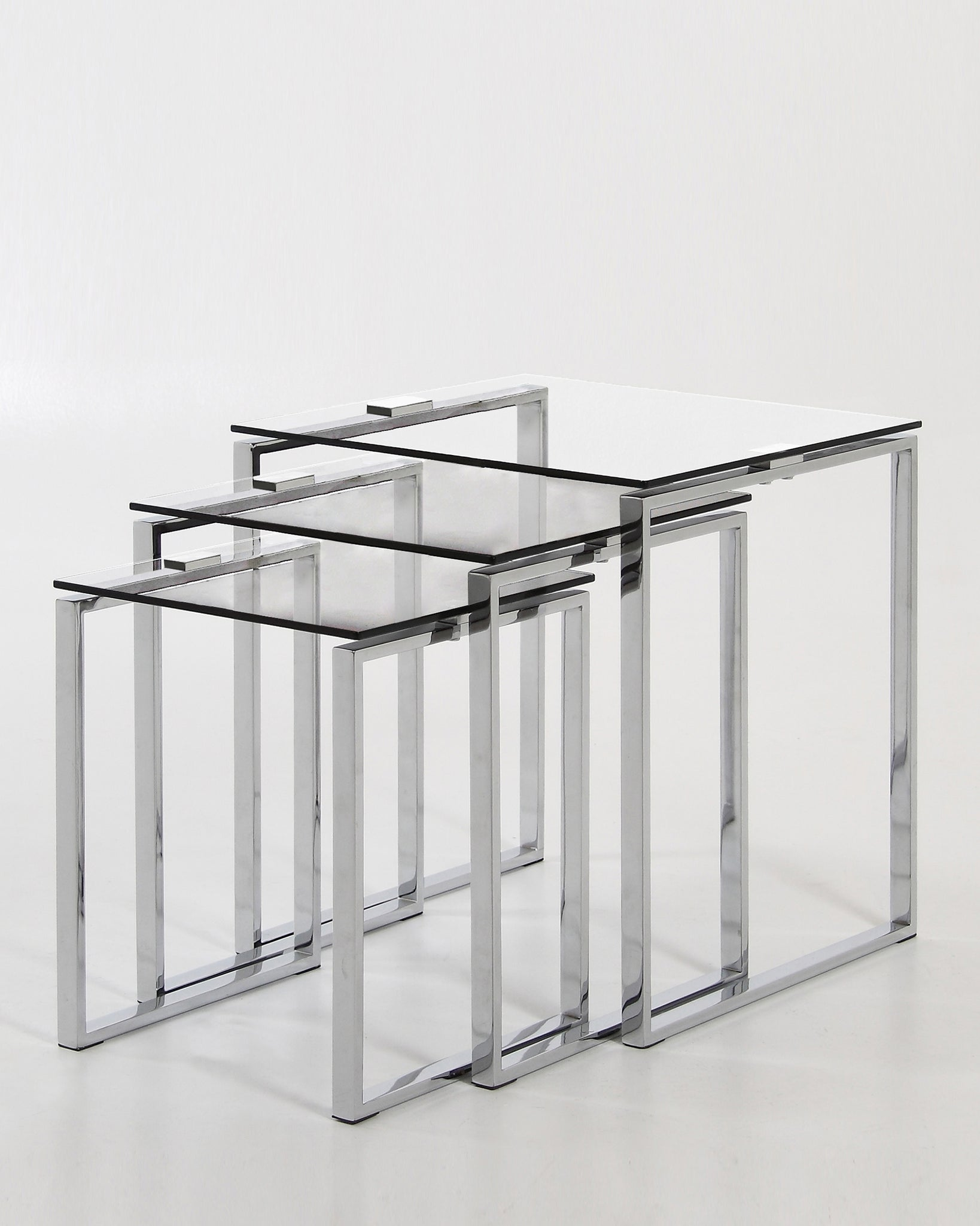 Tiva Clear Glass And Chrome Nest Of Tables