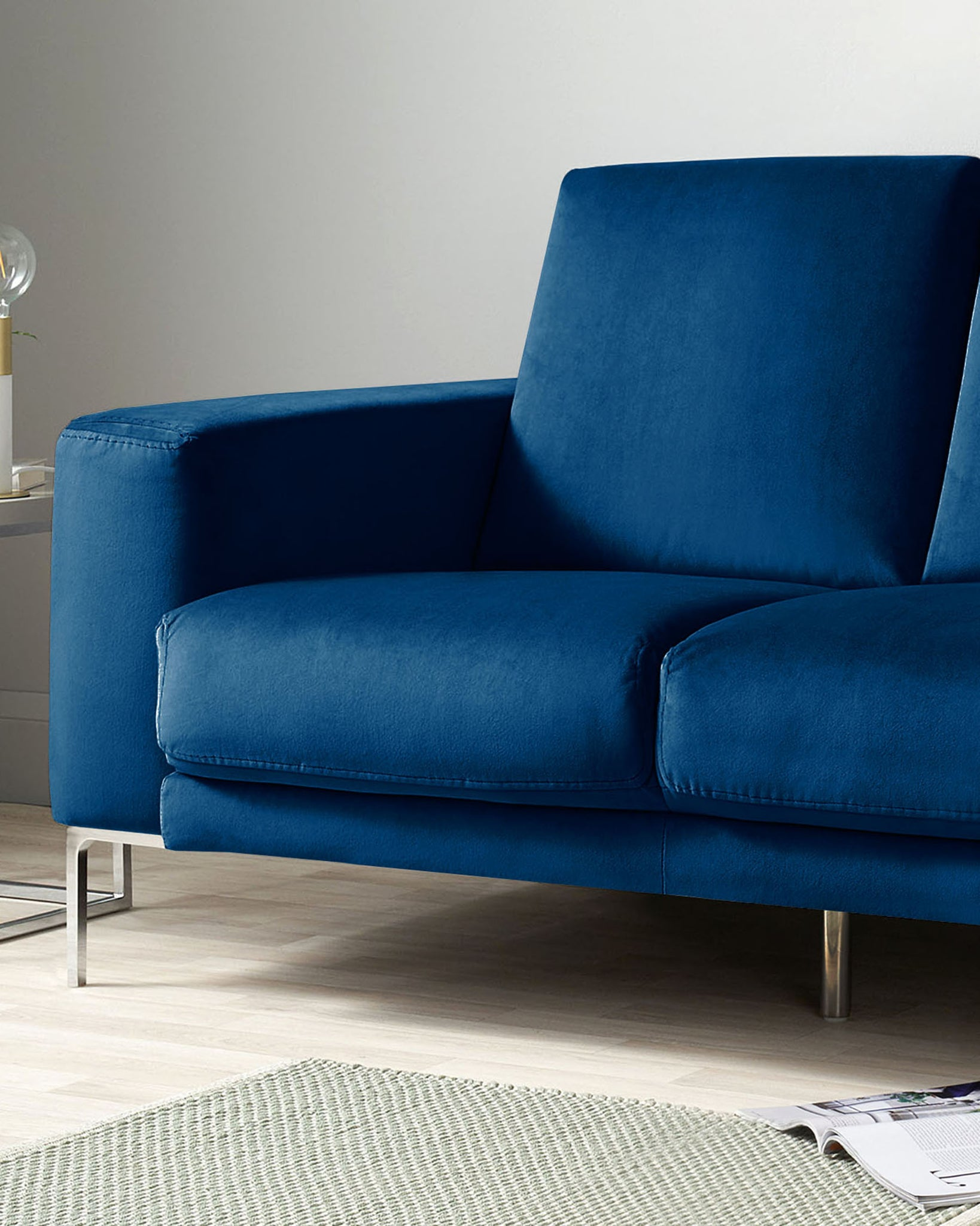 Studio Dark Blue Velvet With Chrome Leg 2 Seater Sofa