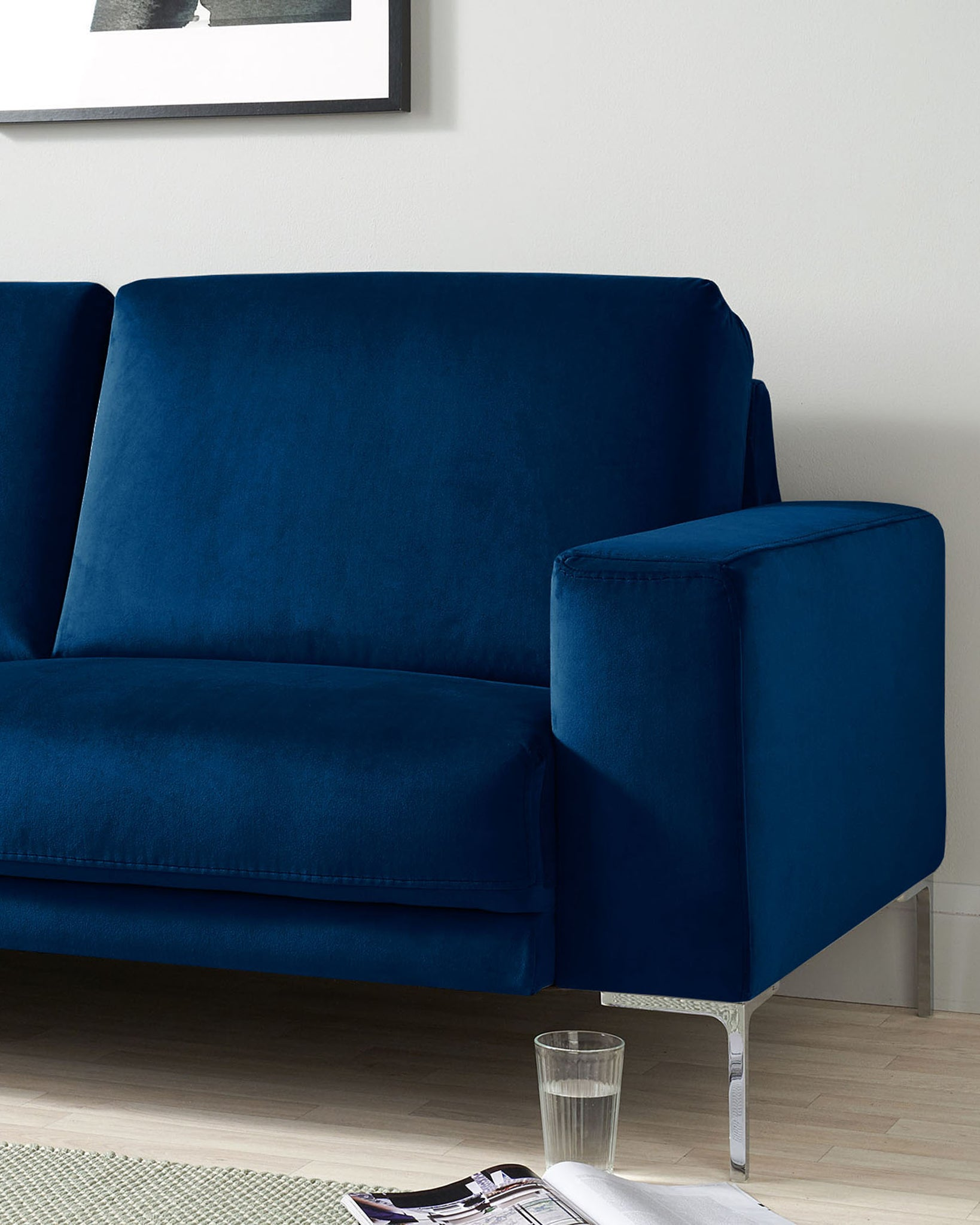 Studio Dark Blue Velvet With Chrome Leg 3 Seater Sofa