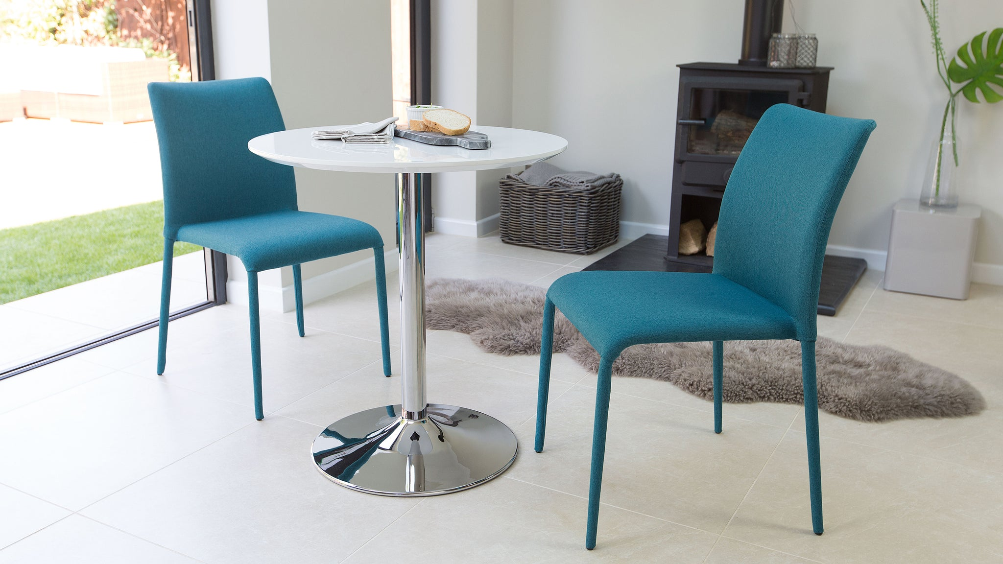 Naro White Gloss And Riva Stackable 2 Seater Dining Set