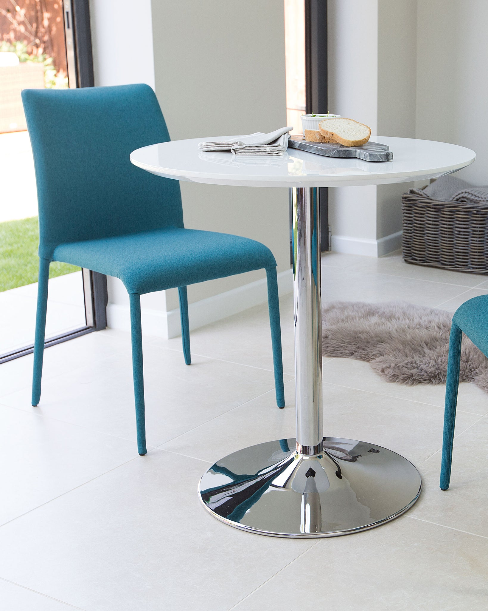 Naro White Gloss Round 2 Seater Table