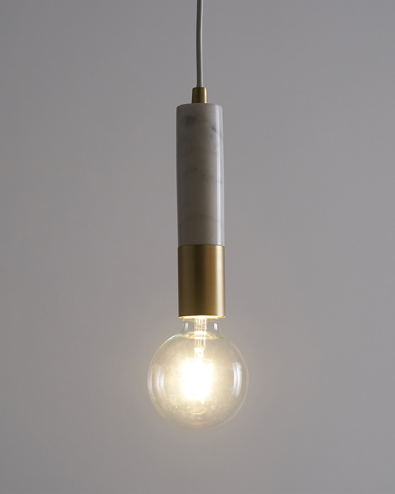 Teo White Marble And Brushed Brass Pendant Lamp