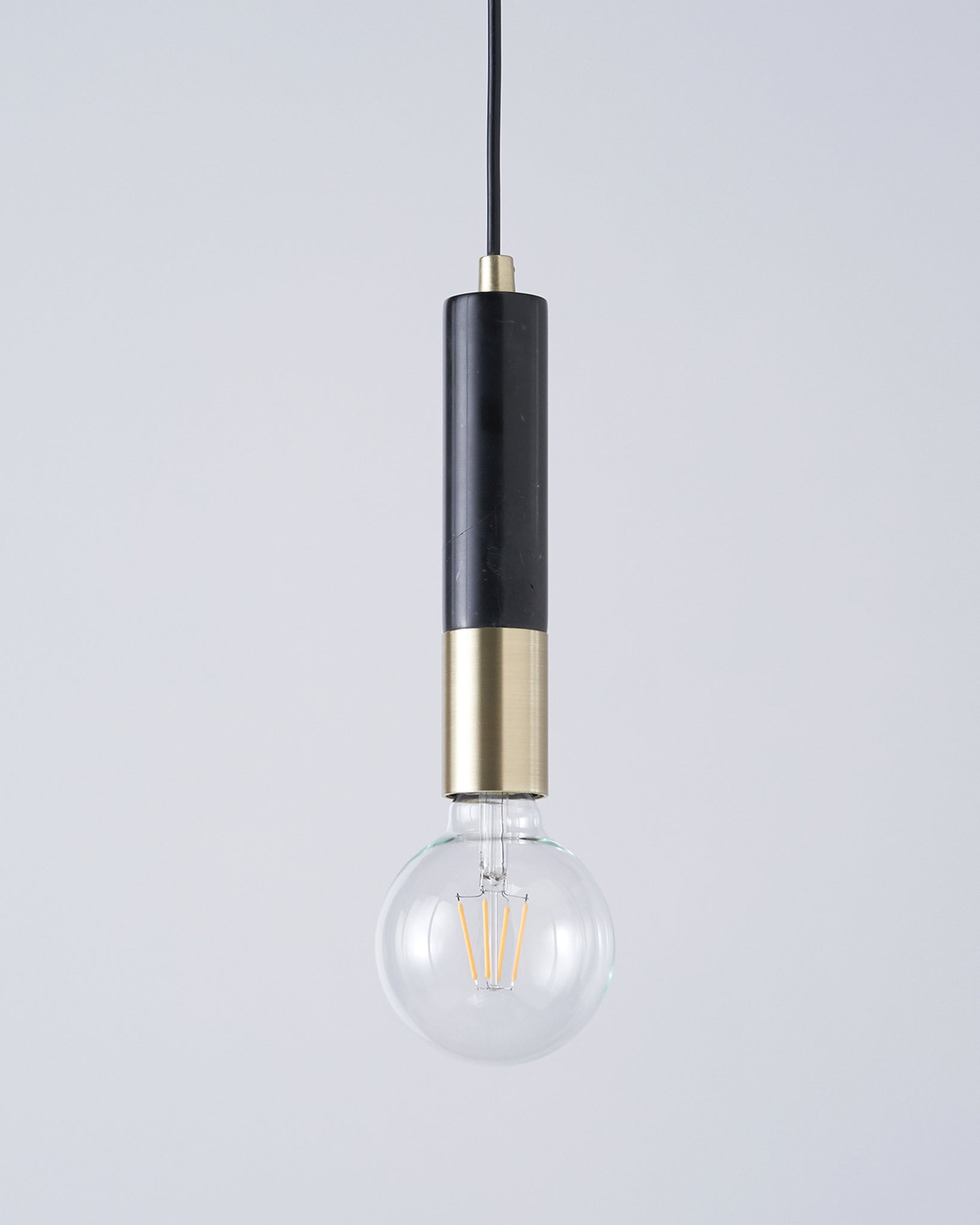 Teo Black Marble And Brushed Brass Pendant Lamp