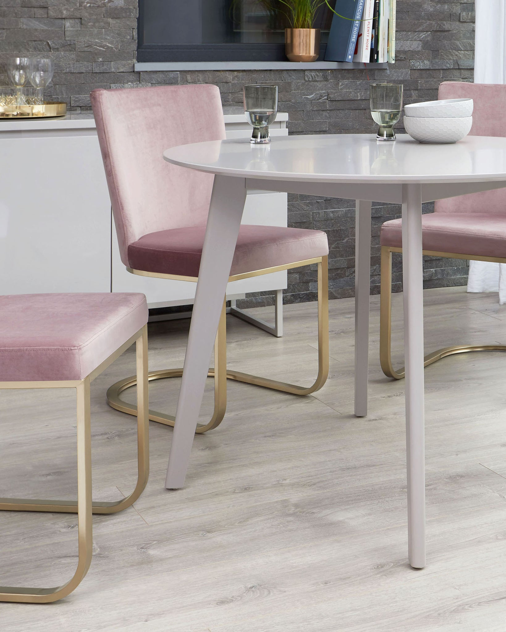 Terni Matt Grey And Form Blush Velvet With Brass 4 Seater Dining Set