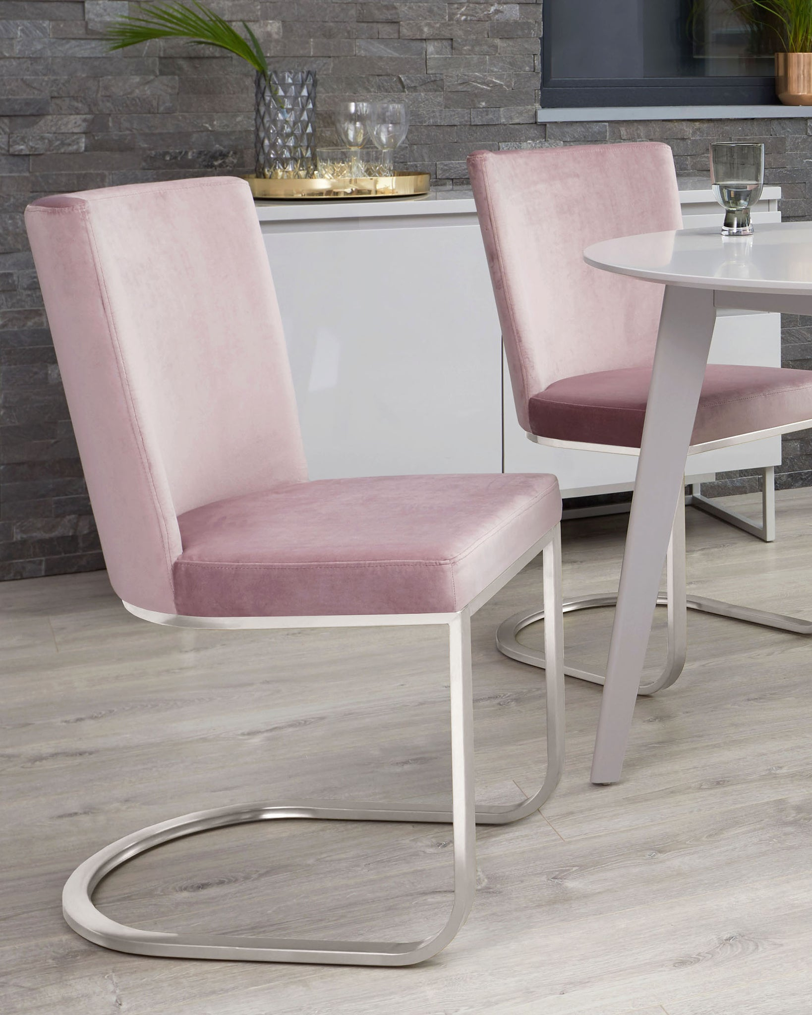 Form Blush Pink Velvet And Brushed Steel Cantilever Dining Chair - Set Of 2
