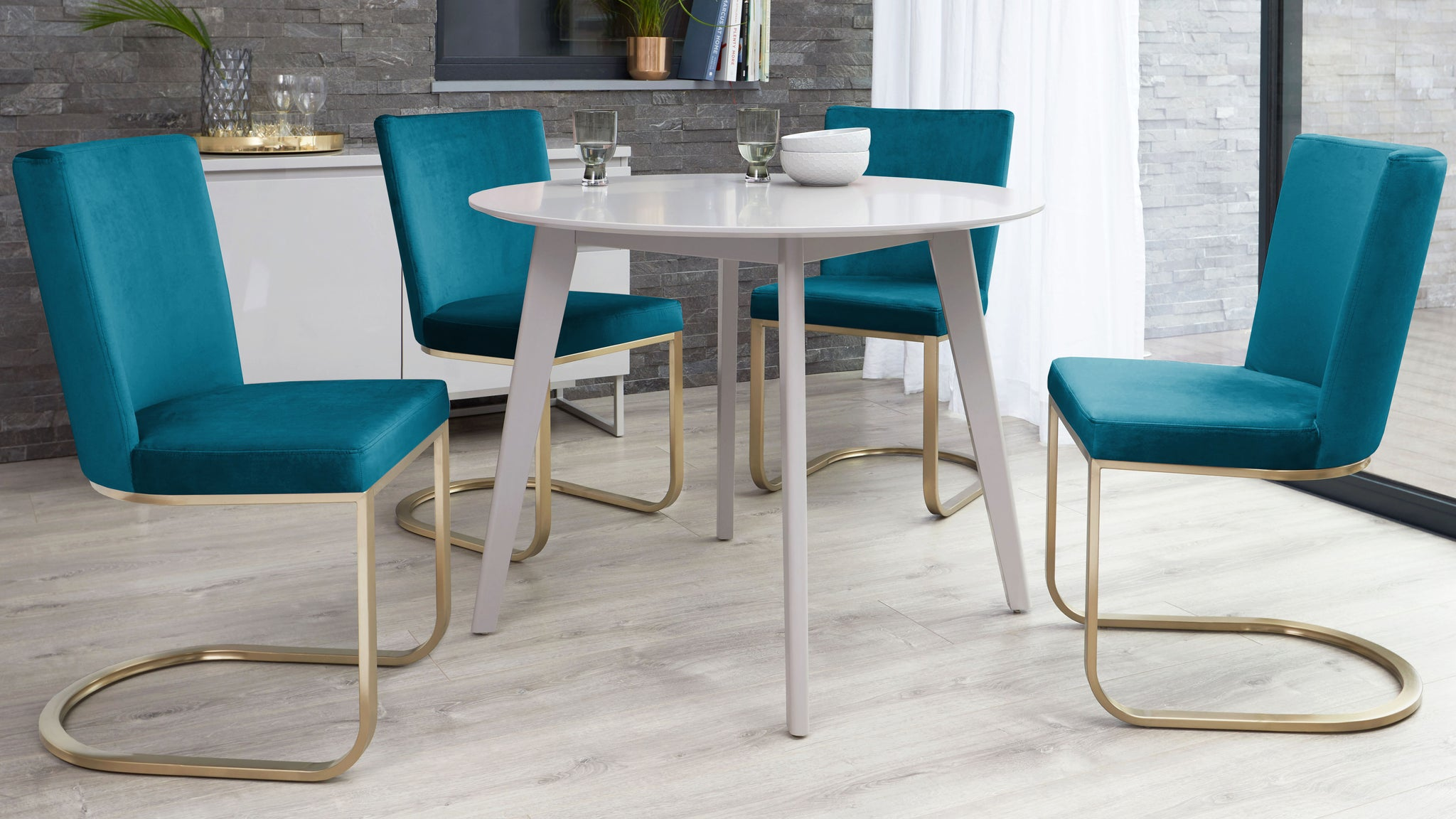 Terni Matt Grey And Form Teal Velvet With Brass 4 Seater Dining Set