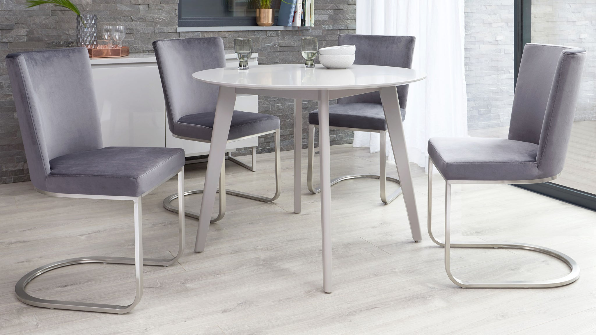 Terni Matt Grey And Form Velvet With Steel 4 Seater Dining Set
