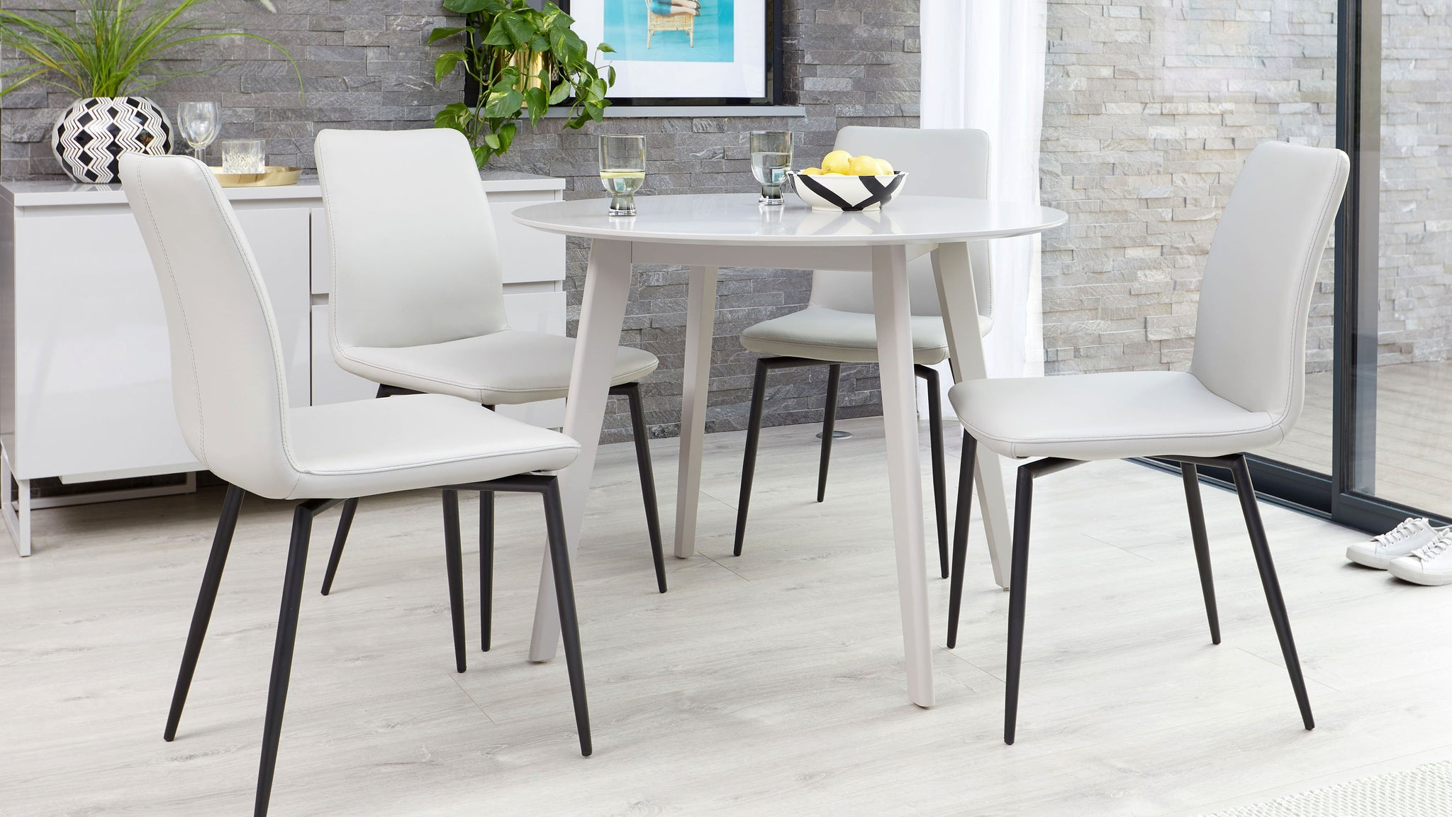 Terni Matt Grey And Bella Leather 4 Seater Dining Set