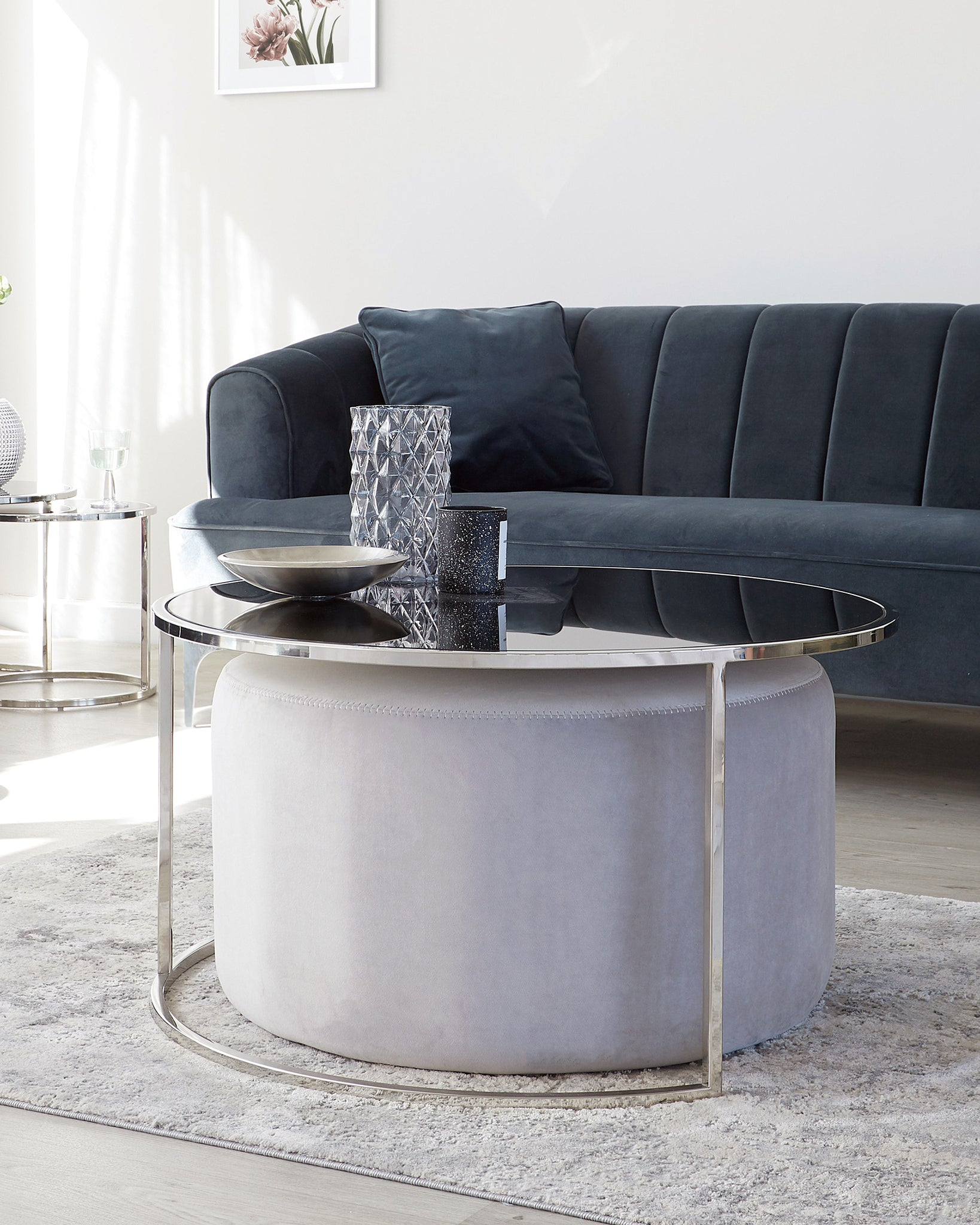 Thea Round Coffee Table And Pouffe Set