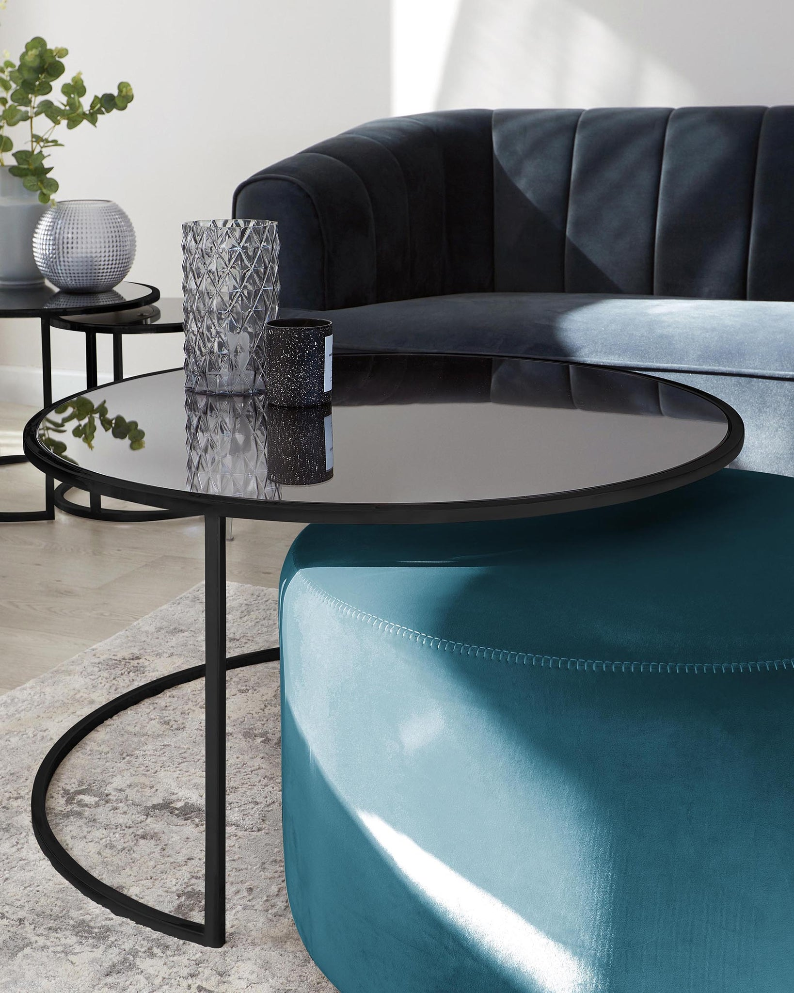 Thea Black Round Coffee Table and Dark Teal Pouffe Set