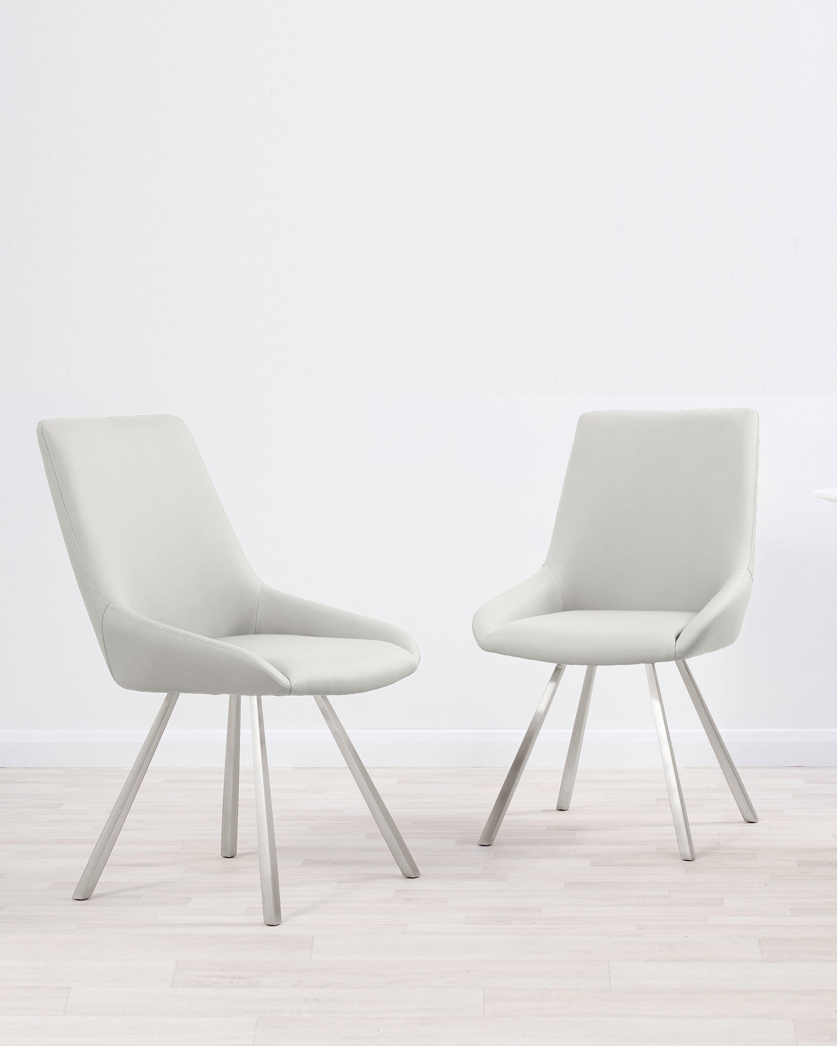 Theo Light Grey Faux Leather Dining Chair - Set Of 2