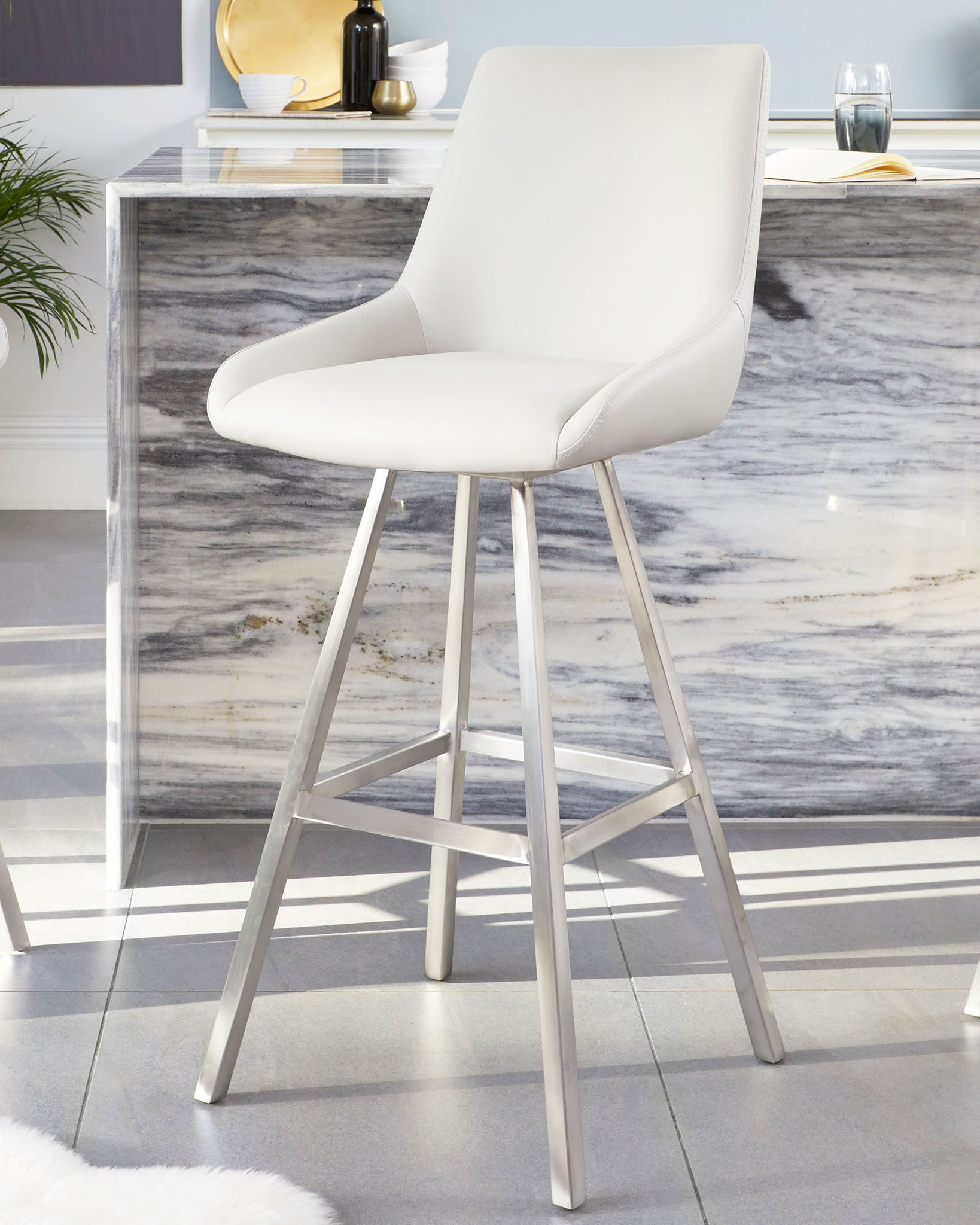 Theo Light Grey Swivel Stainless Steel Bar Stool