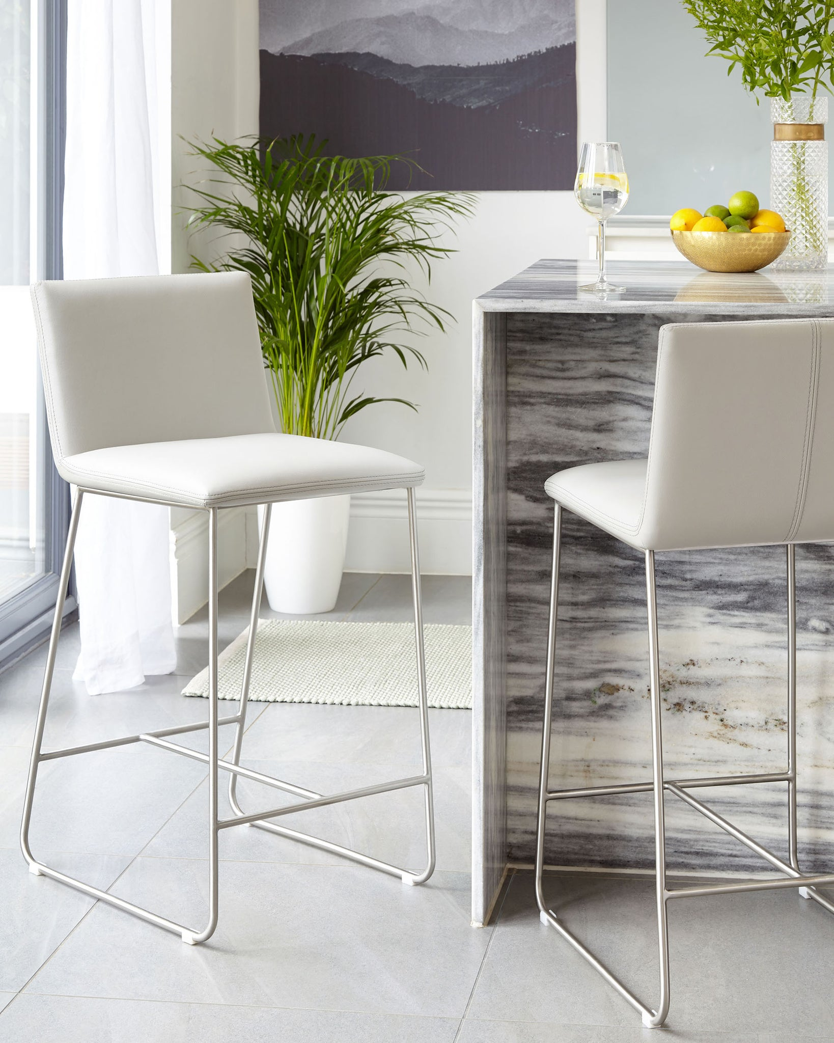 Tia Light Grey Real Leather Bar Stool