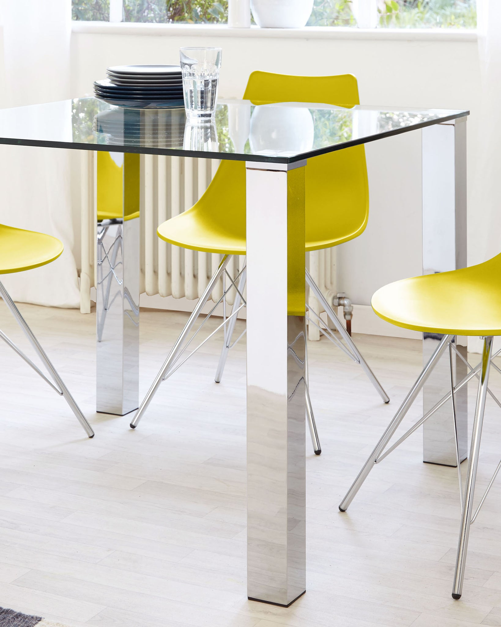 Tiva Glass And Chrome 2 To 4 Seater Small Dining Table