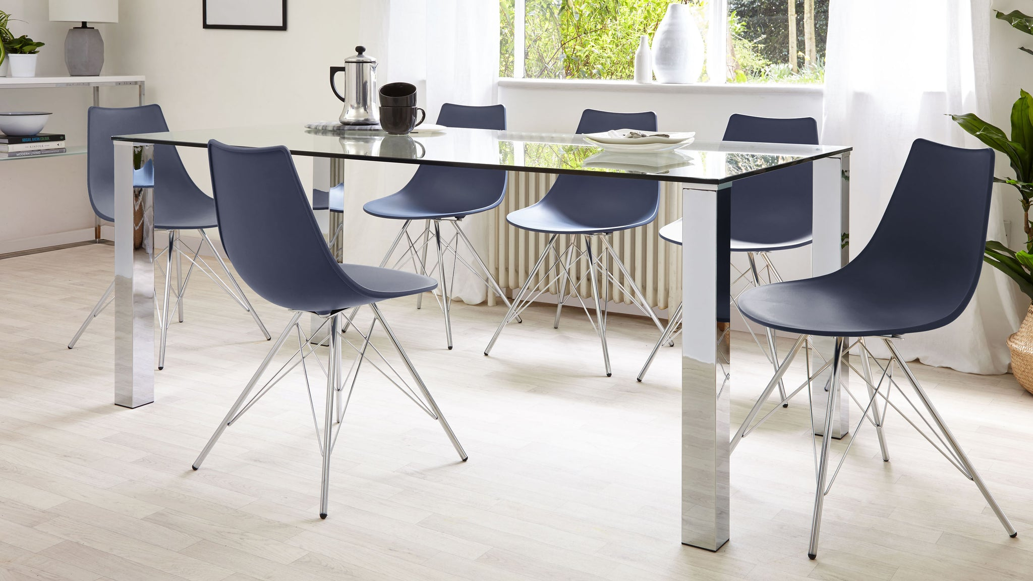 Tiva 6 To 8 Seater Large Glass And Chrome Dining Table