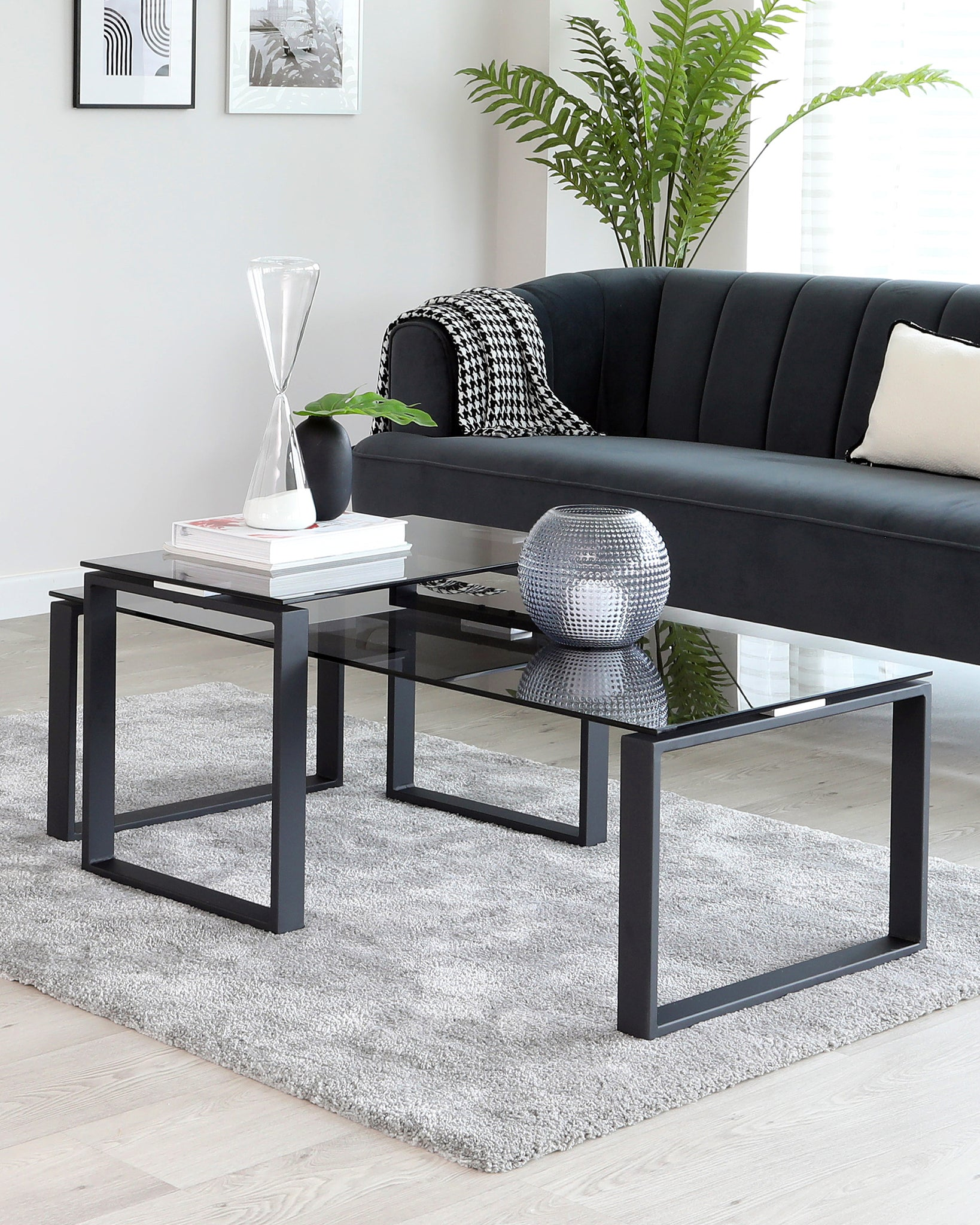 Picture of: Tiva Smoked Glass Coffee Table Set Danetti