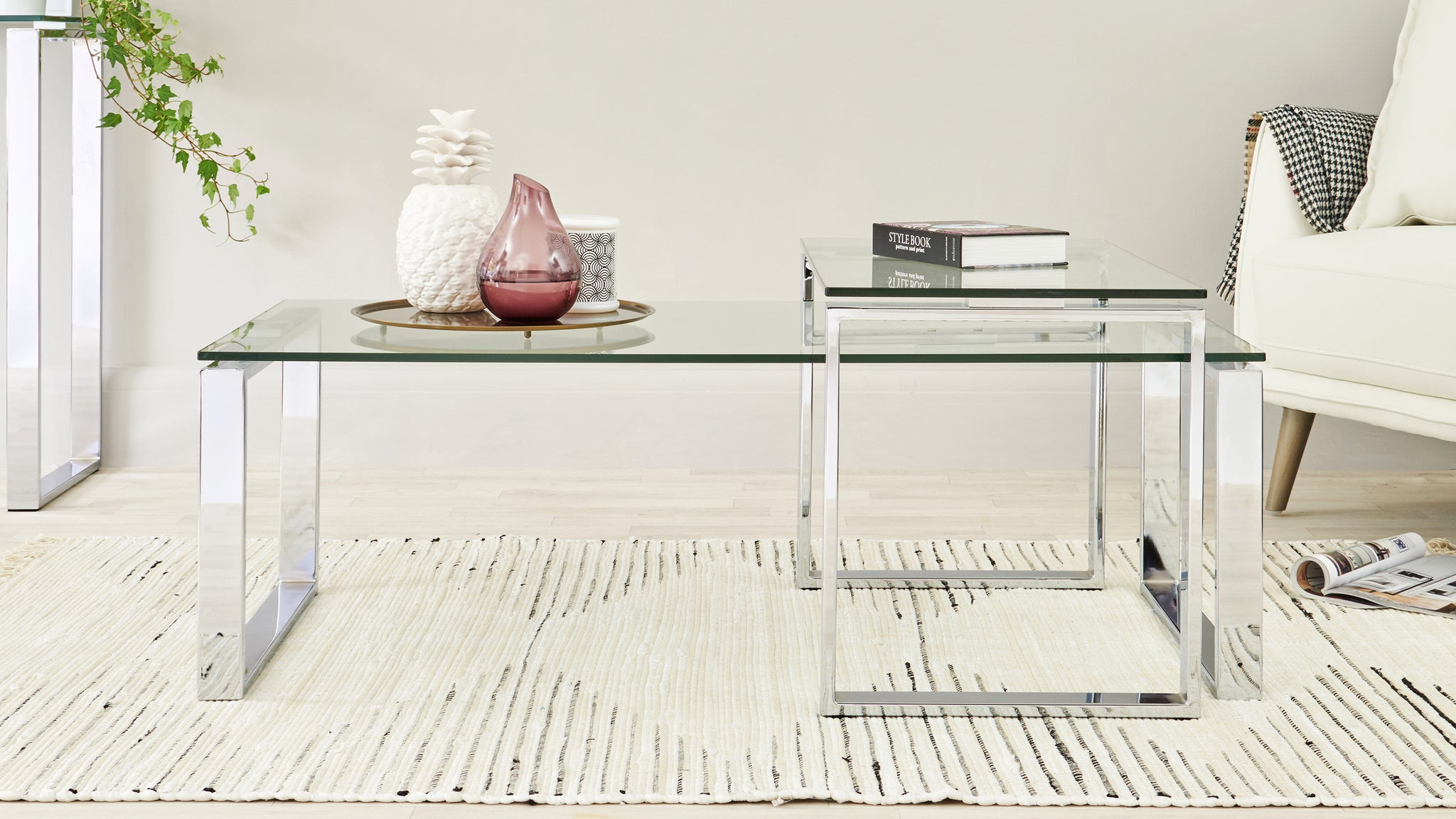 Tiva Clear Glass Coffee Table Set
