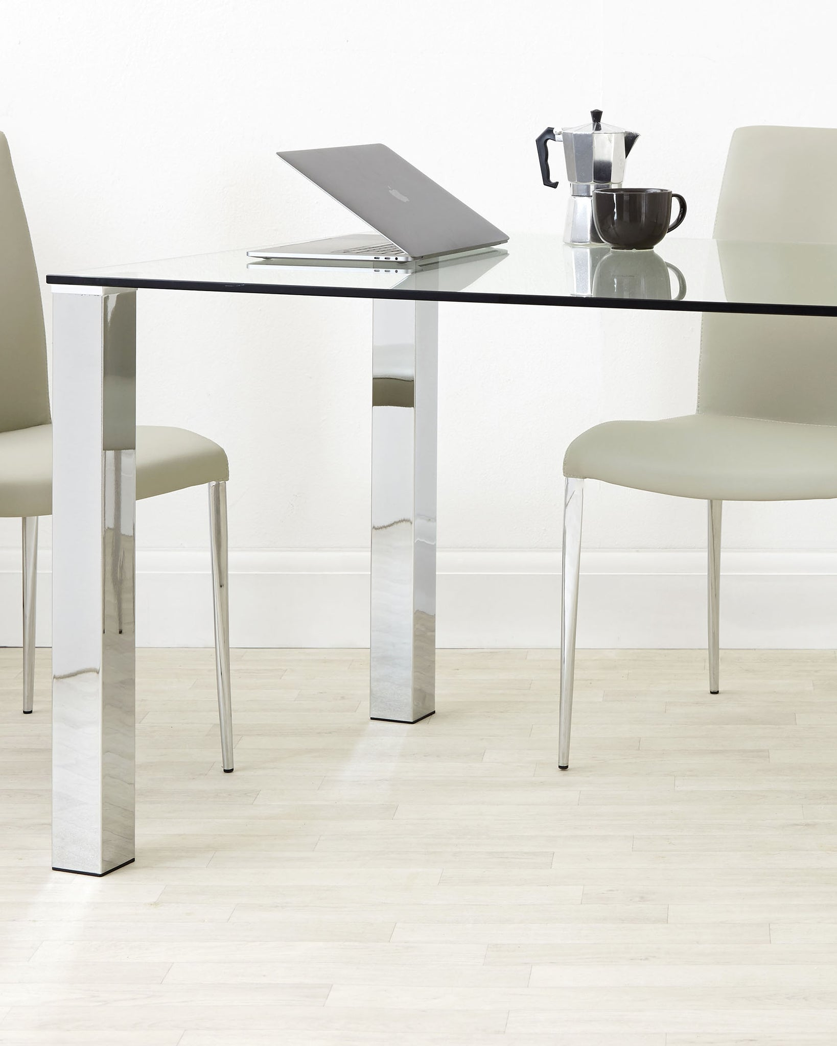 Tiva Glass And Chrome 4 To 6 Seater Dining Table
