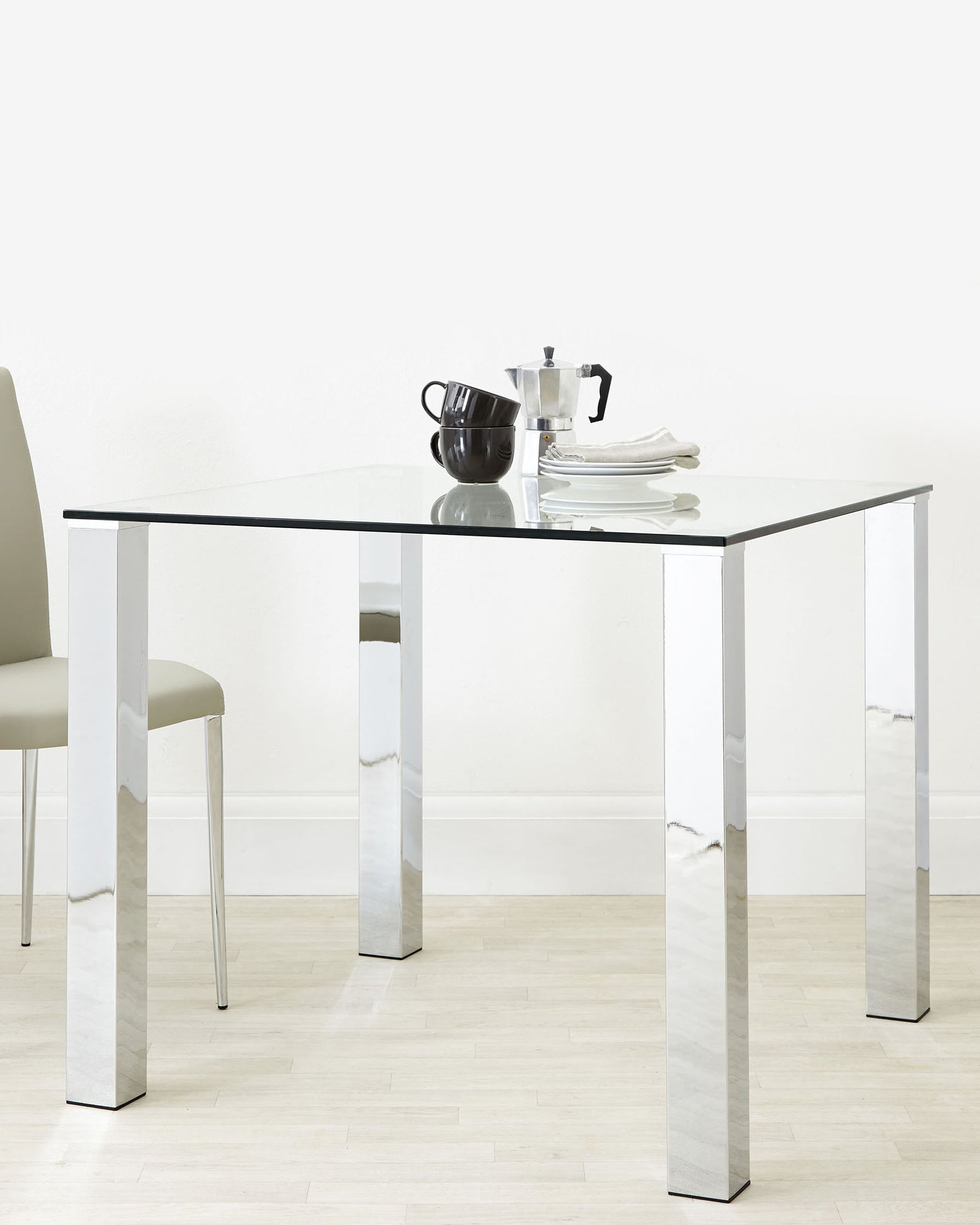 Tiva Glass Table And Elise Chairs Small Dining Set