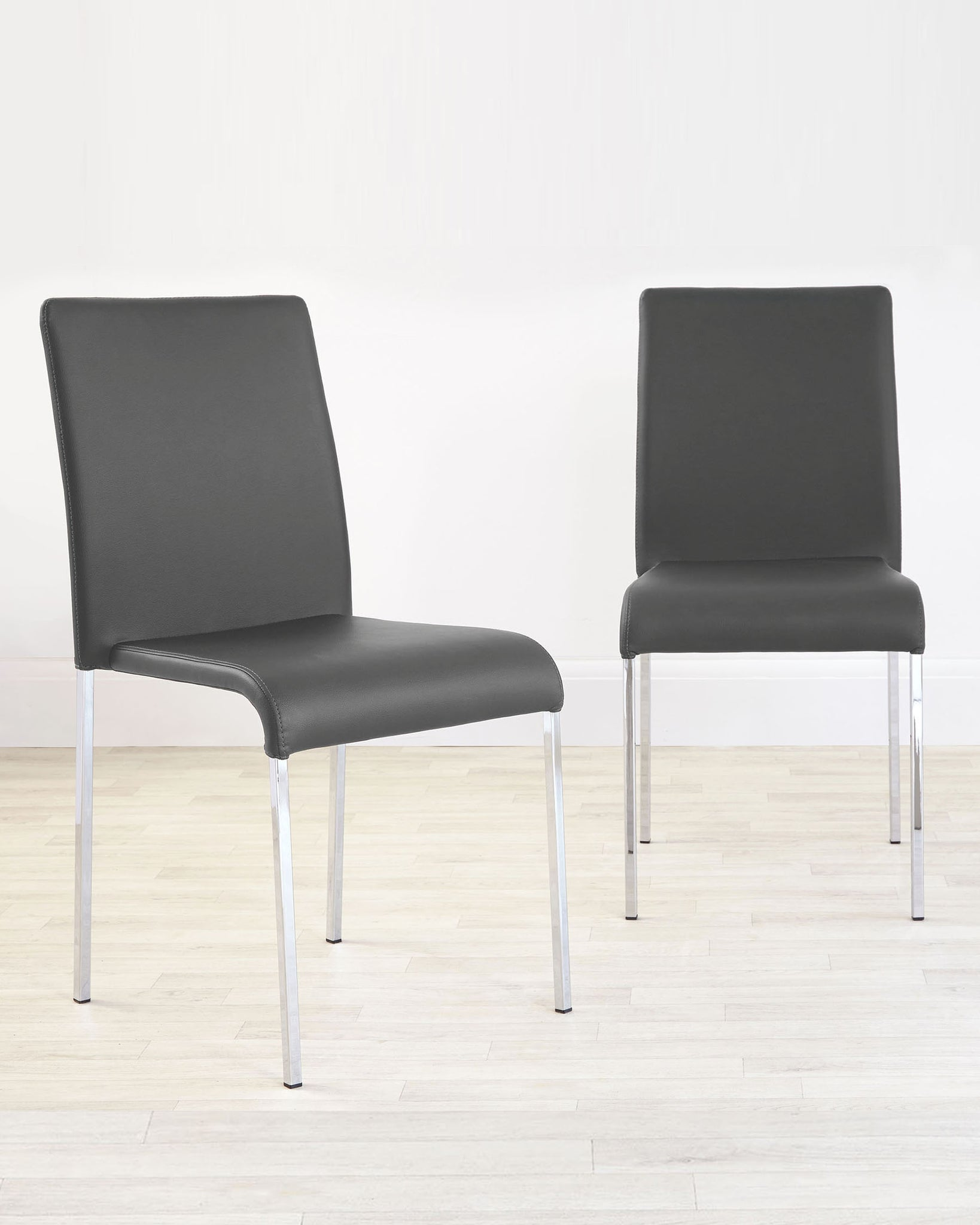 Tori Modern Dark Grey Faux Leather Dining Chair - Set Of 2