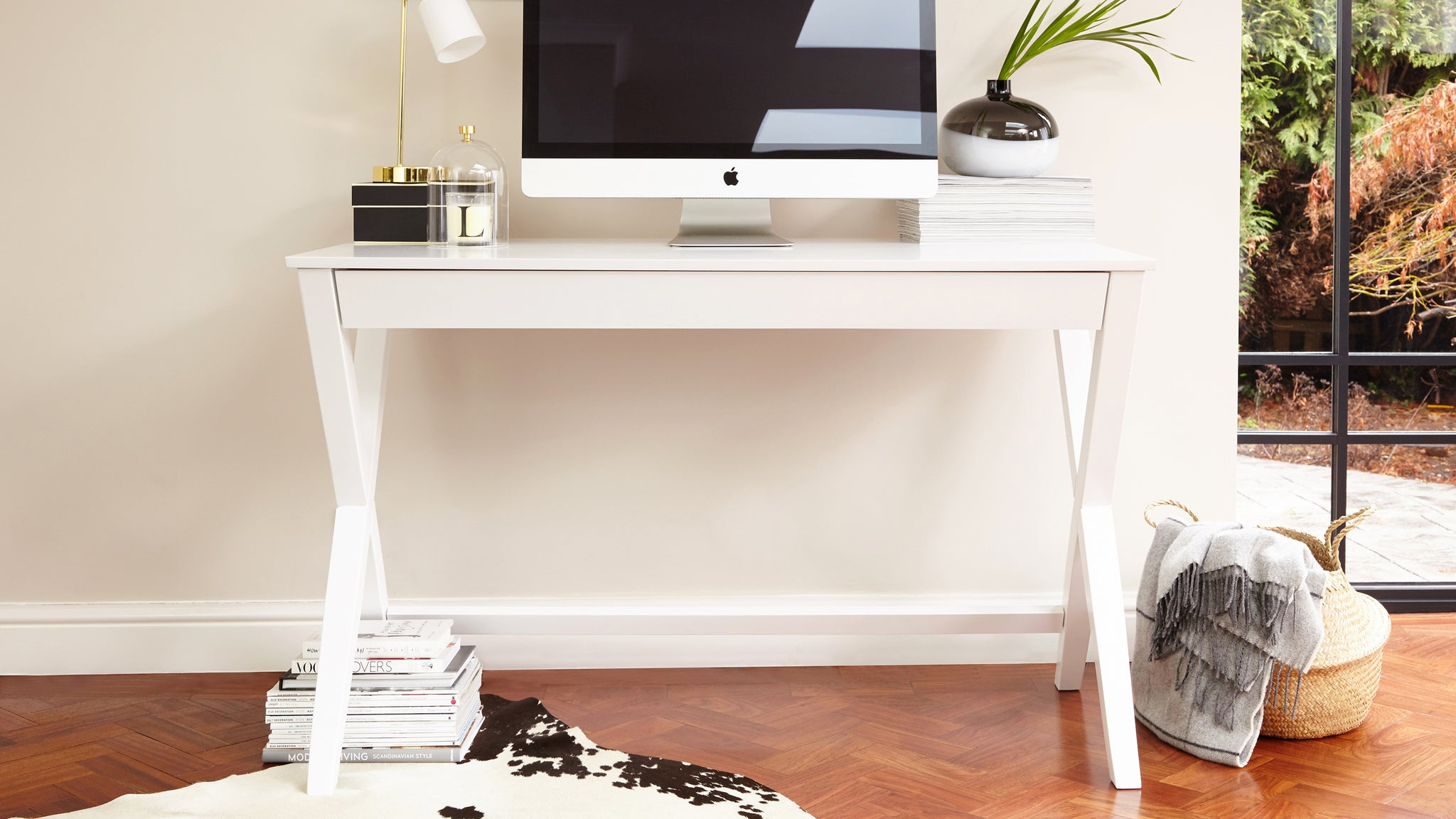 Trestle Matt White Desk
