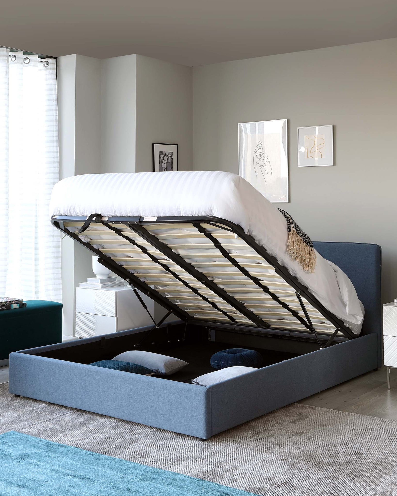 Turin Blue Fabric Double Bed with Storage