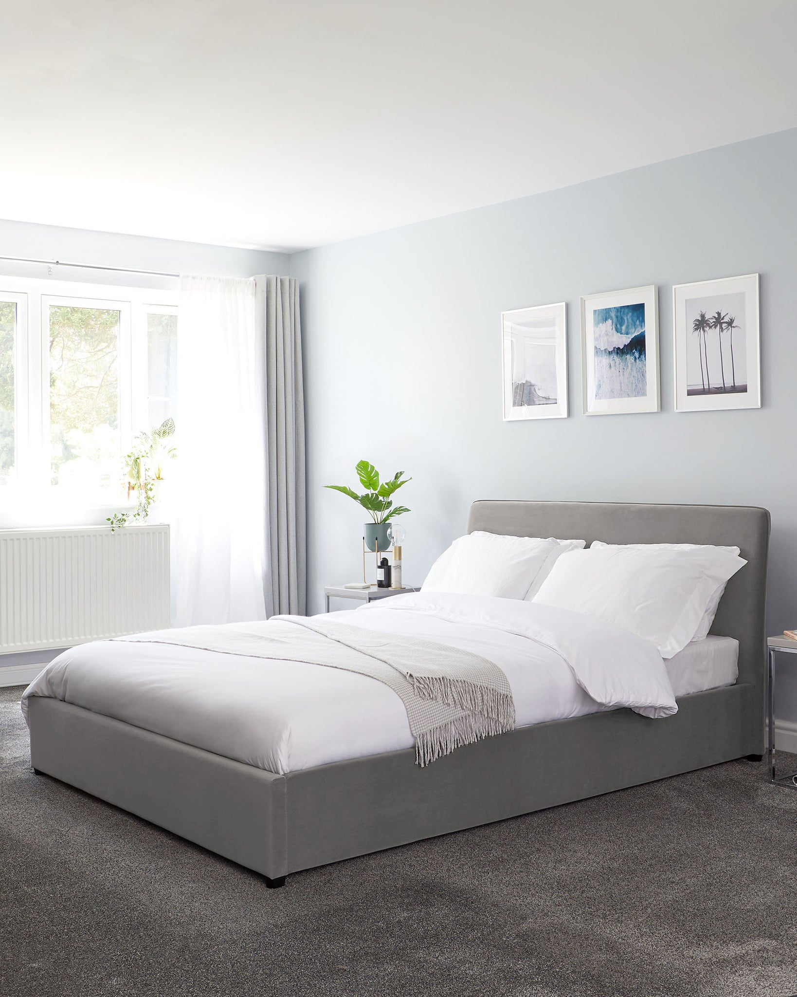 Turin Light Grey Velvet Super King Bed With Storage