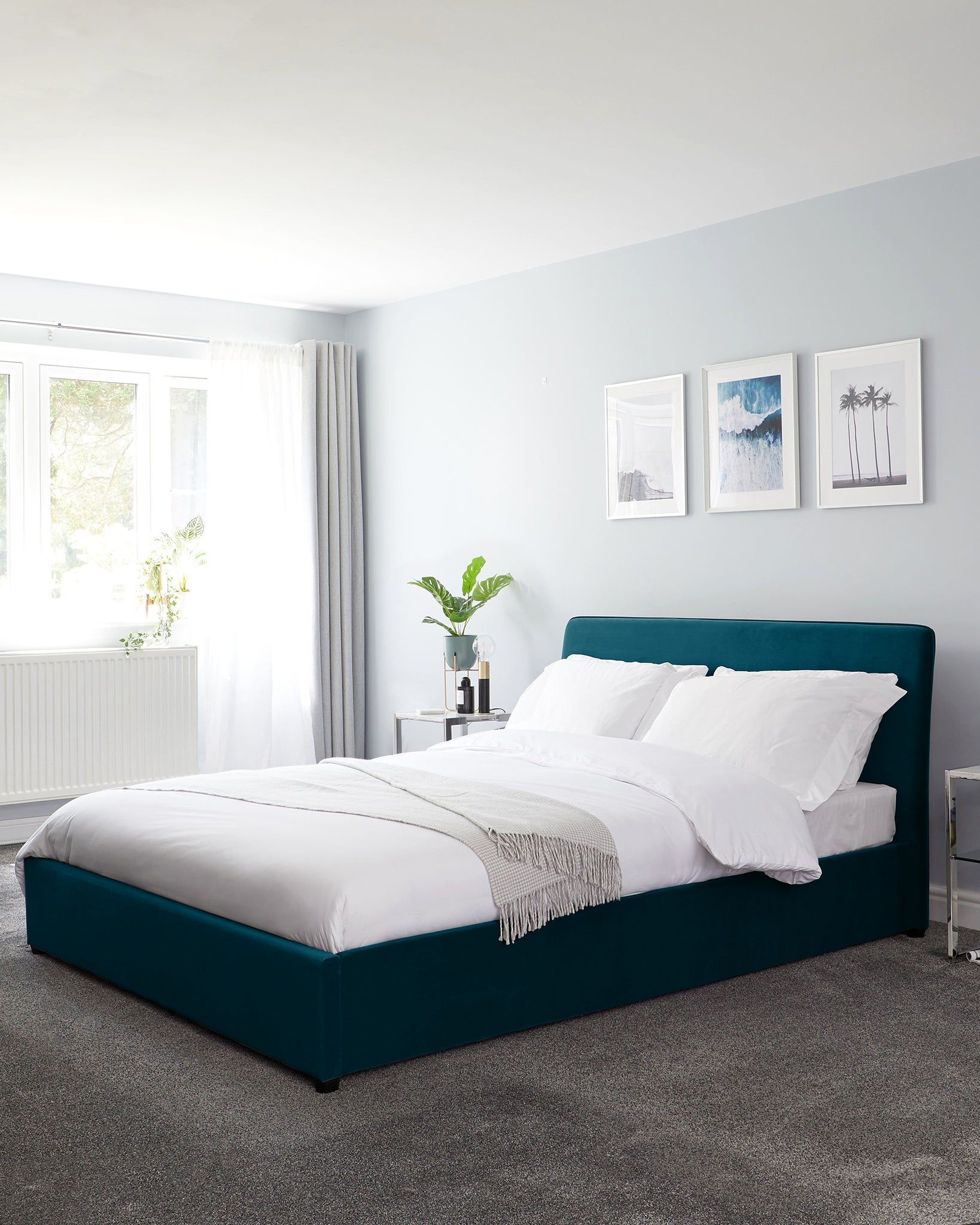 Turin Dark Teal Velvet Double Bed With Storage